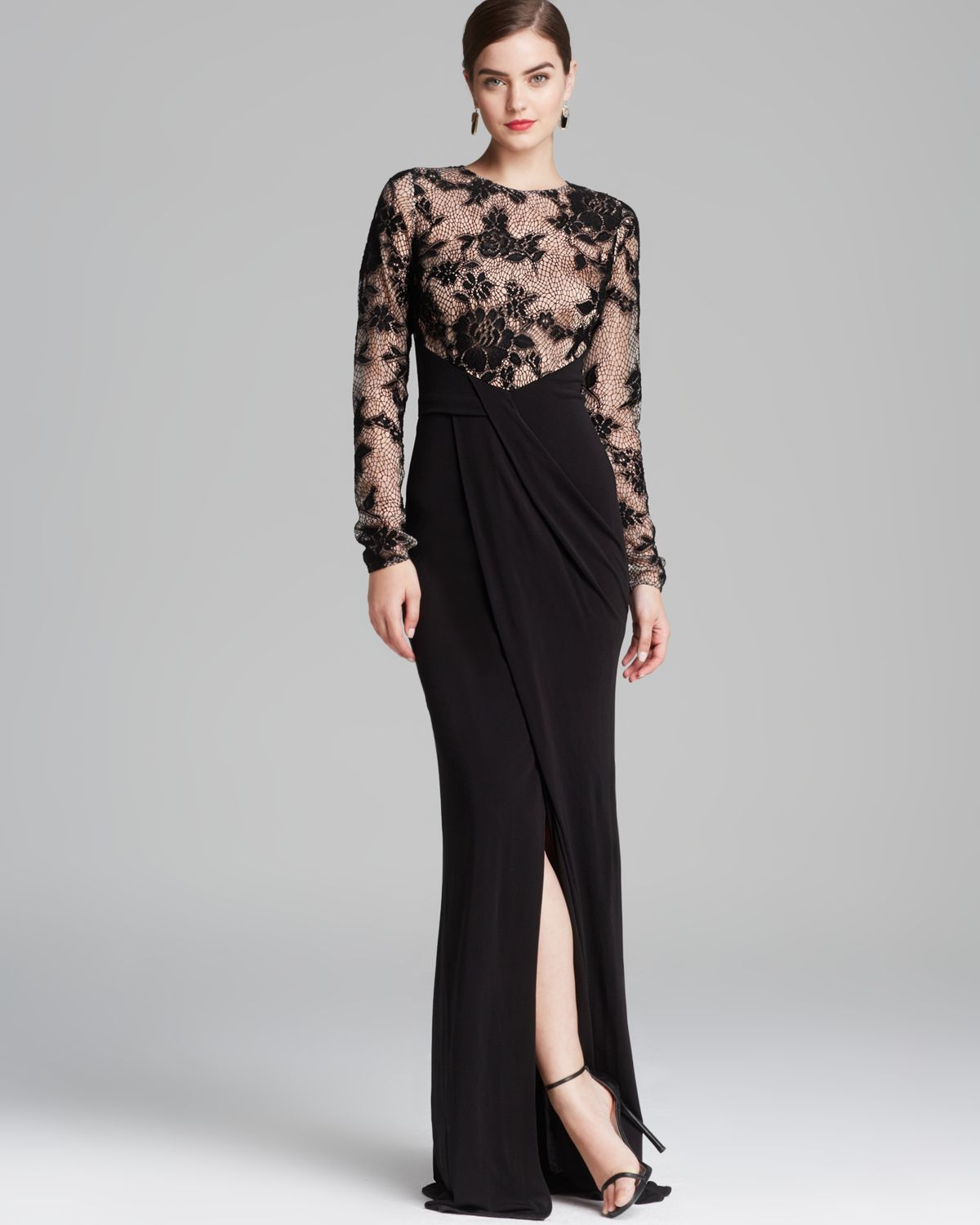 Lyst - David Meister Gown Lace Illusion in Black