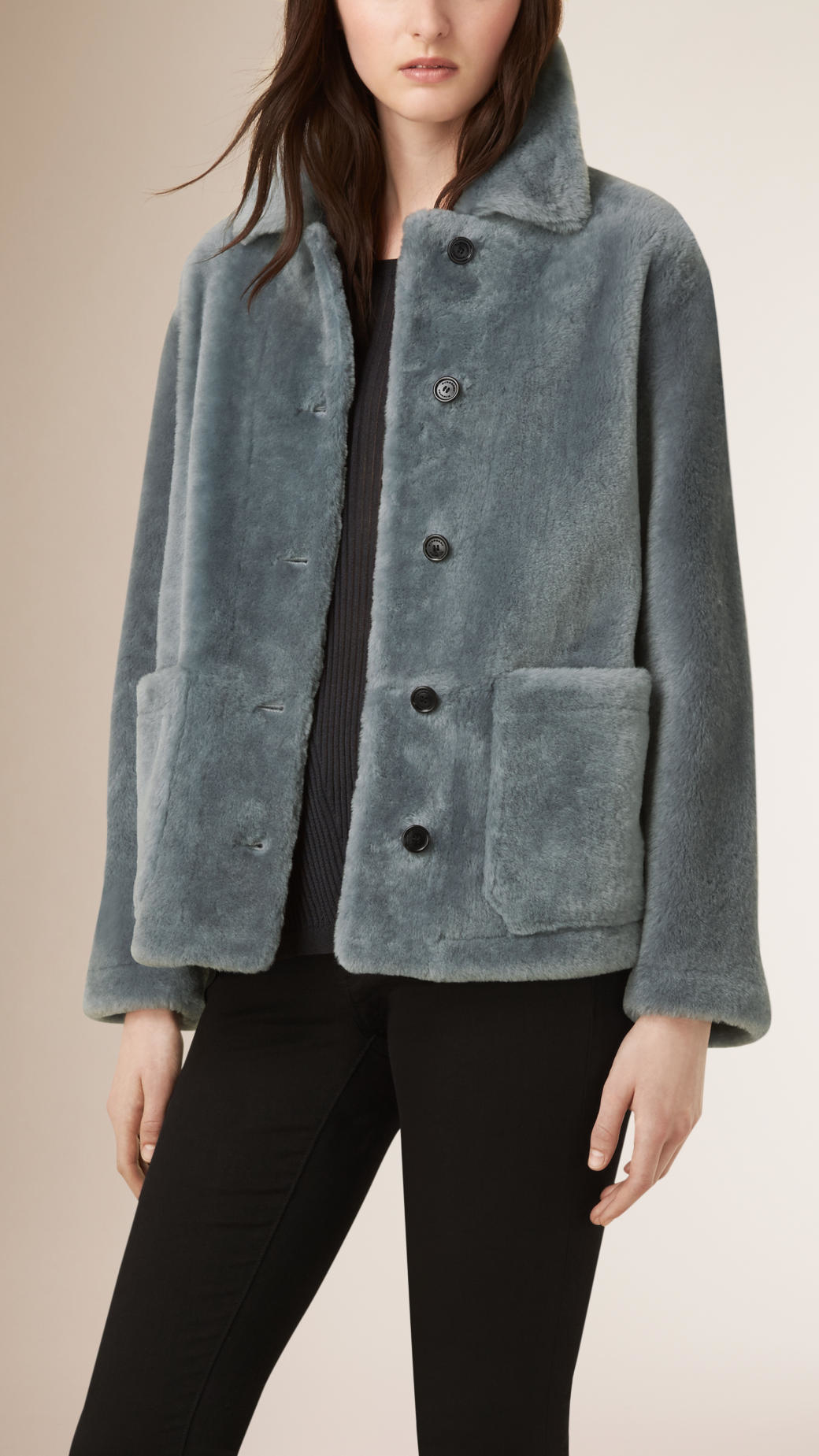 Burberry Shearling Car Coat in Gray | Lyst