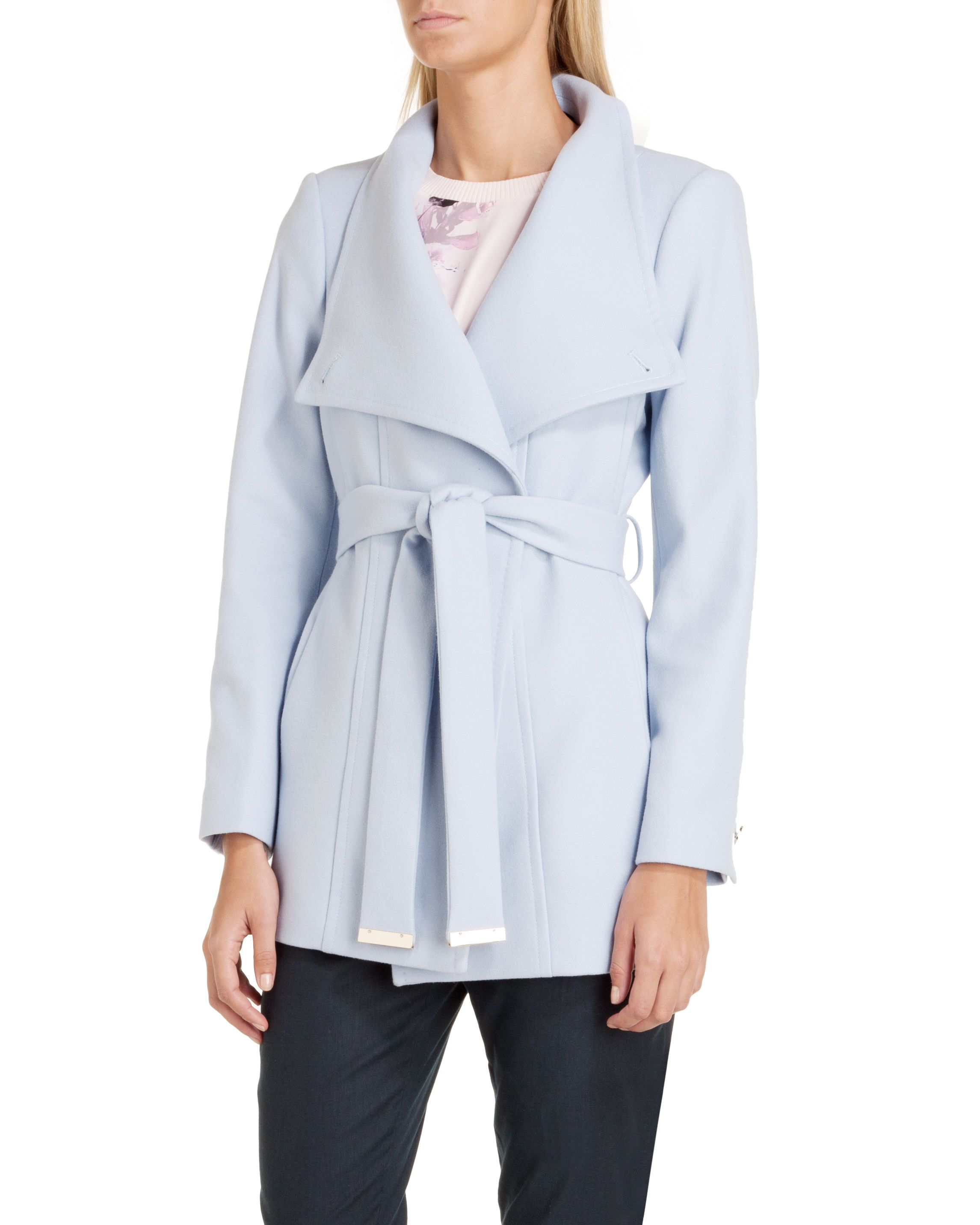 Ted baker Paria Short Wrap Coat in Blue | Lyst