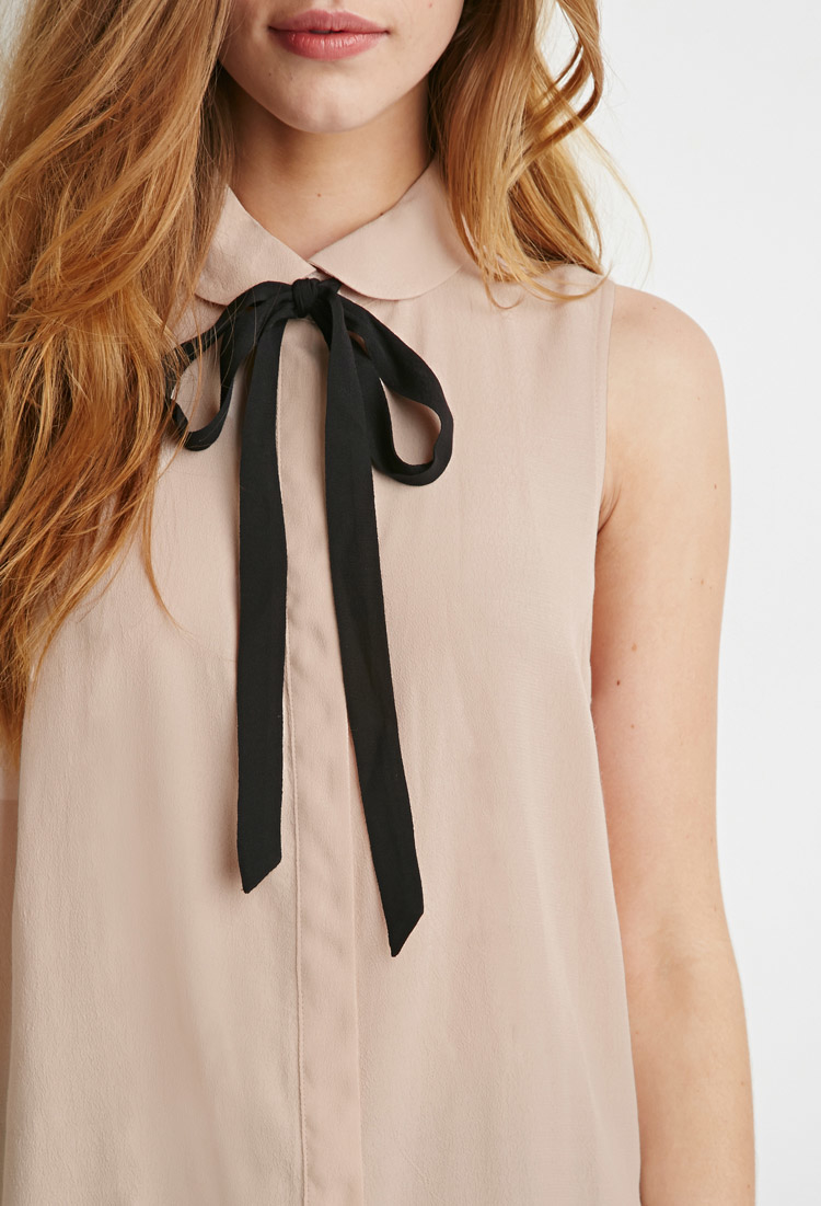 Lyst Forever 21 Peter Pan Collar Bow Blouse In Pink