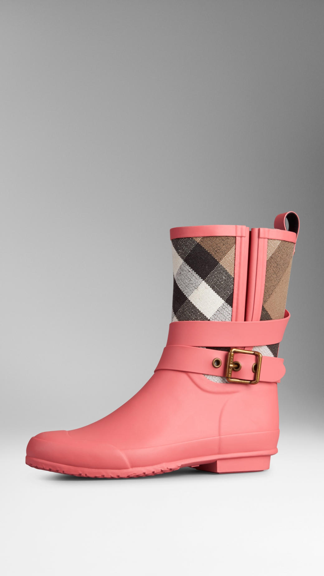Lyst Burberry Check Detail Belted Rain Boots In Pink