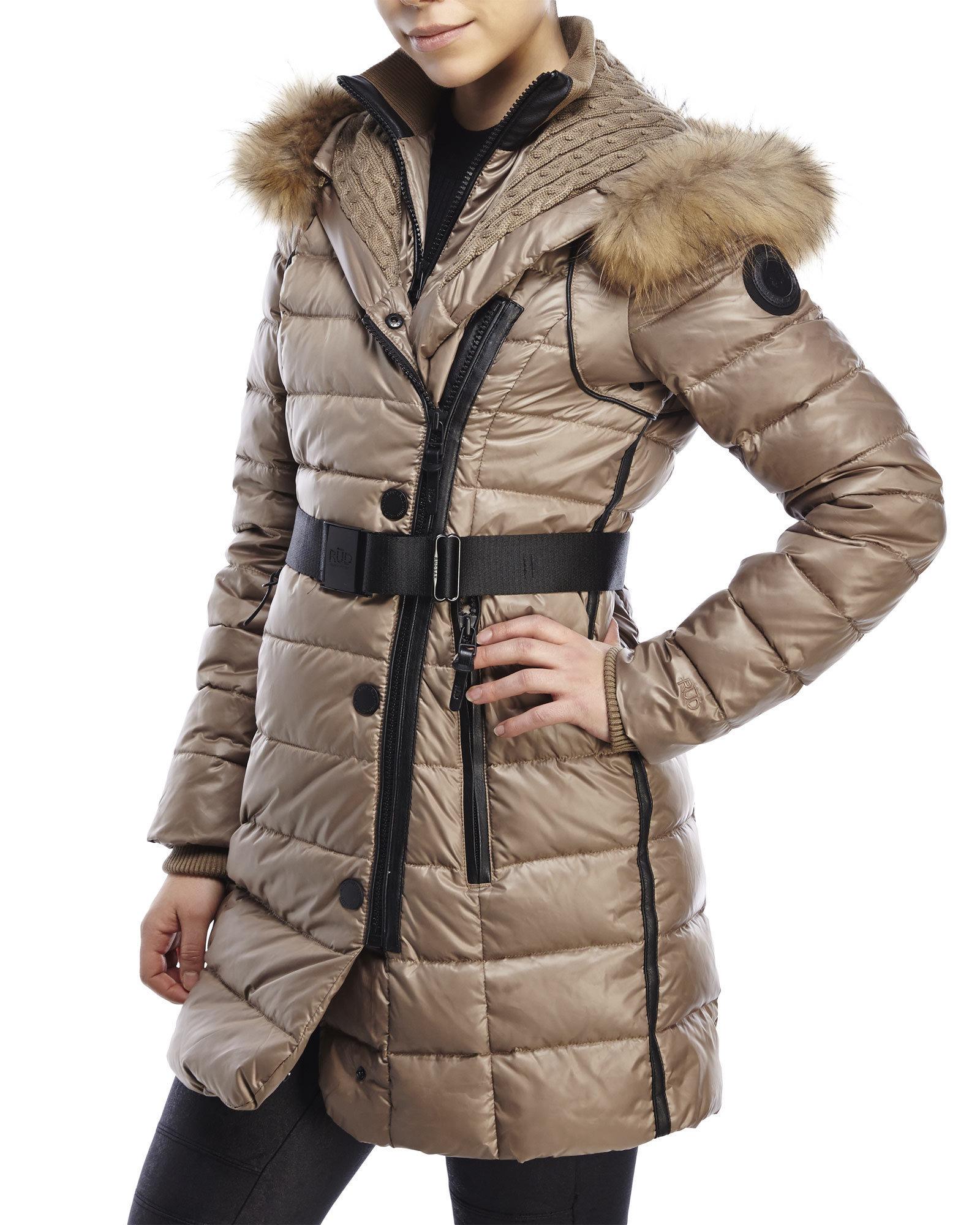 Rud styled by rudsak Joanne Real Fur Trim Hooded Down Coat in ...