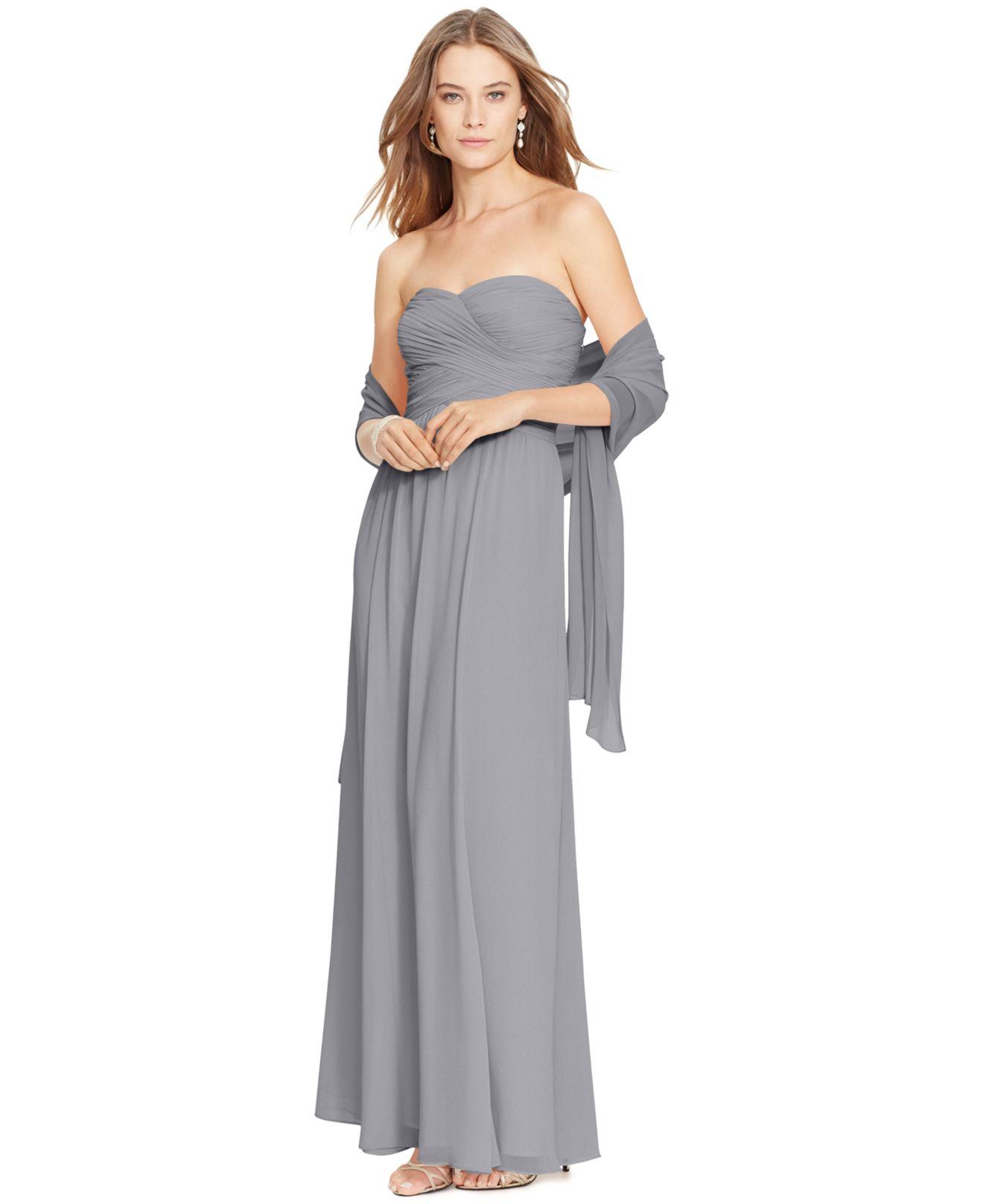 Lauren by ralph lauren Strapless Ruched Gown in Gray | Lyst