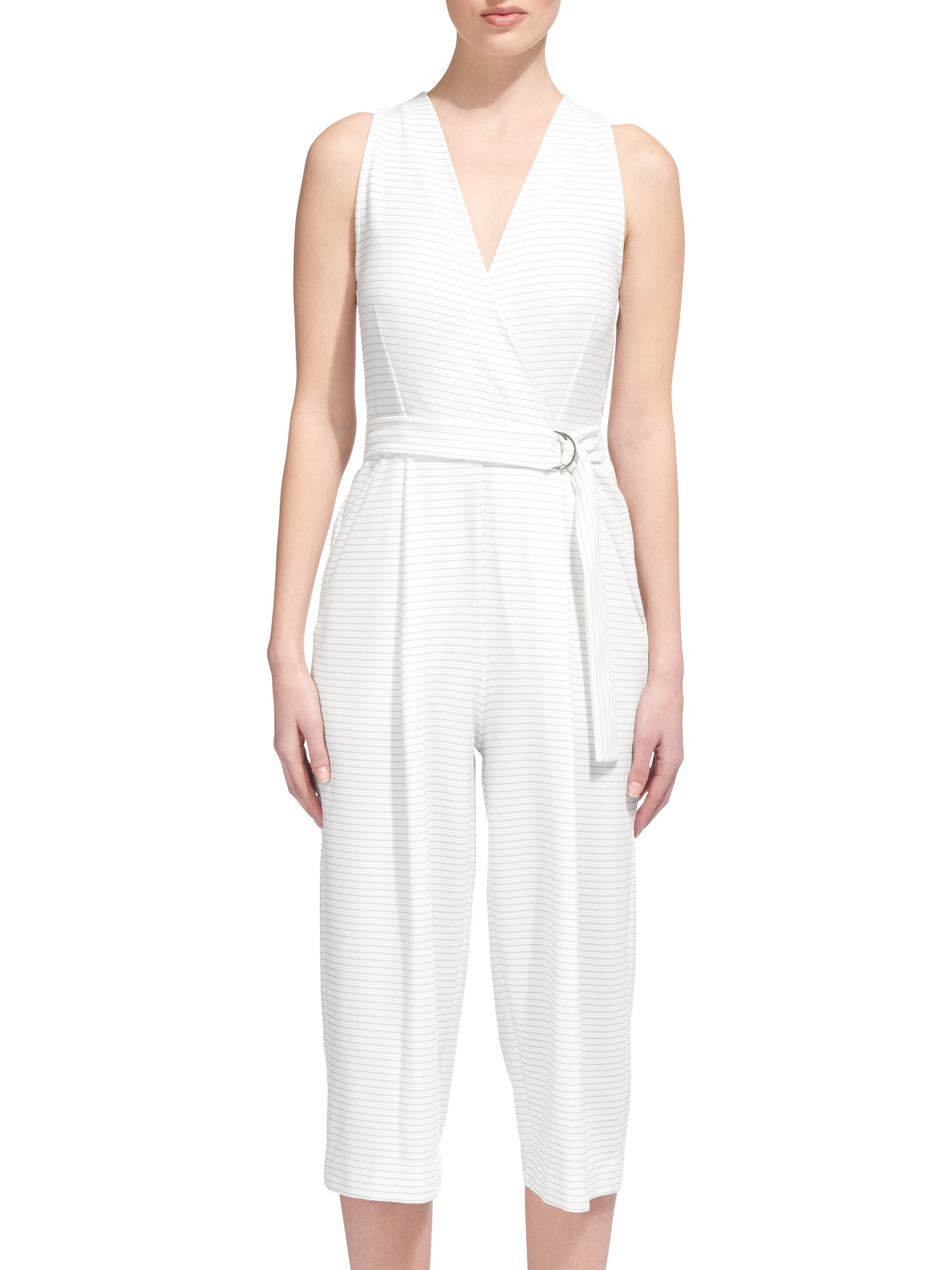 a252e369d48 Whistles Ria Striped Jersey Jumpsuit in White - Lyst