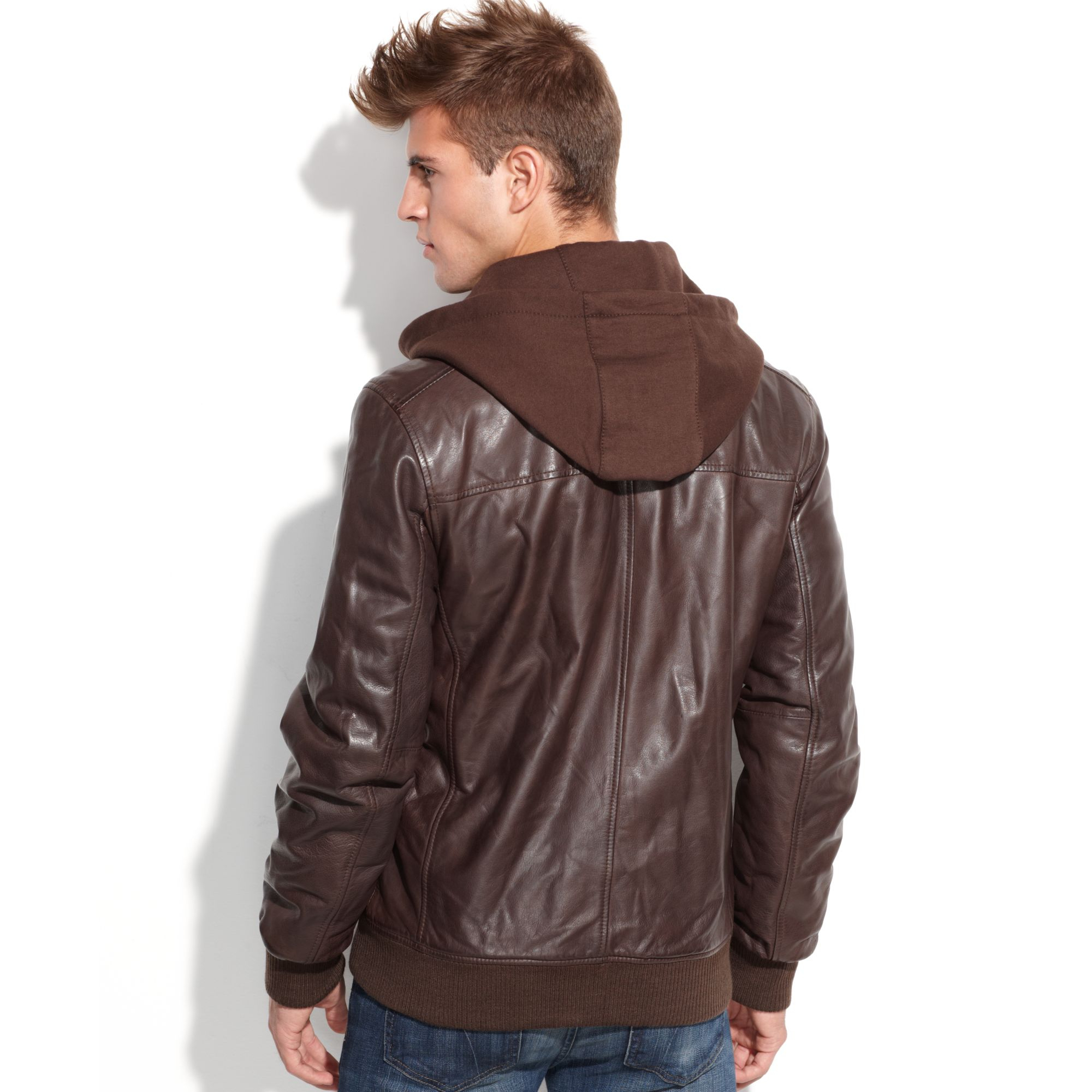 Guess Jacket Fleece Hood Leather Bomber in Brown for Men | Lyst