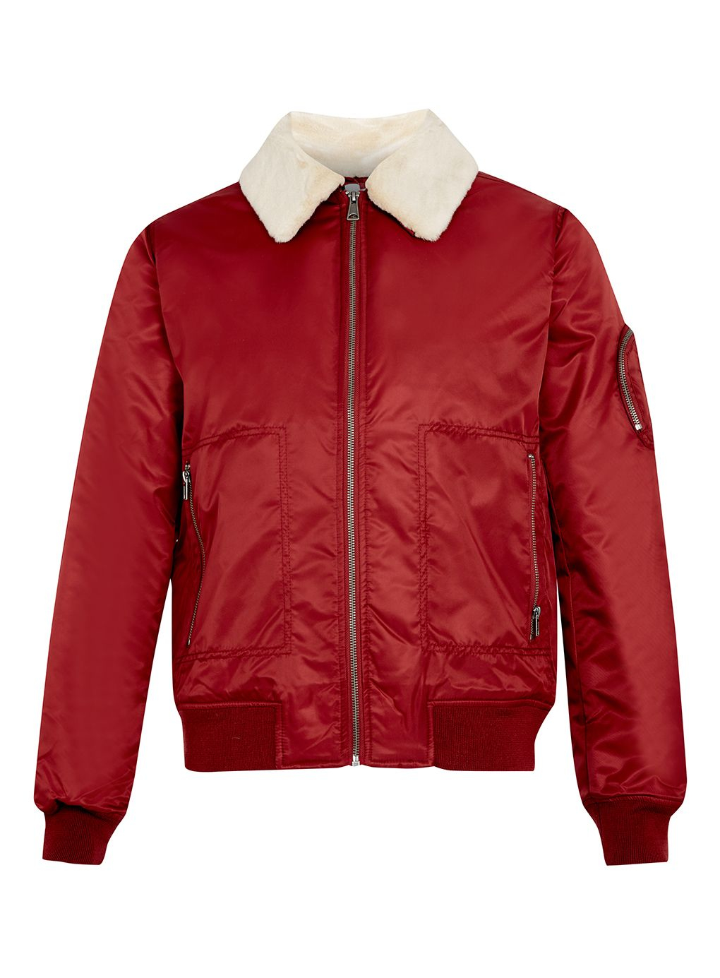 Topman Nylon Flight Jacket in Red for Men | Lyst