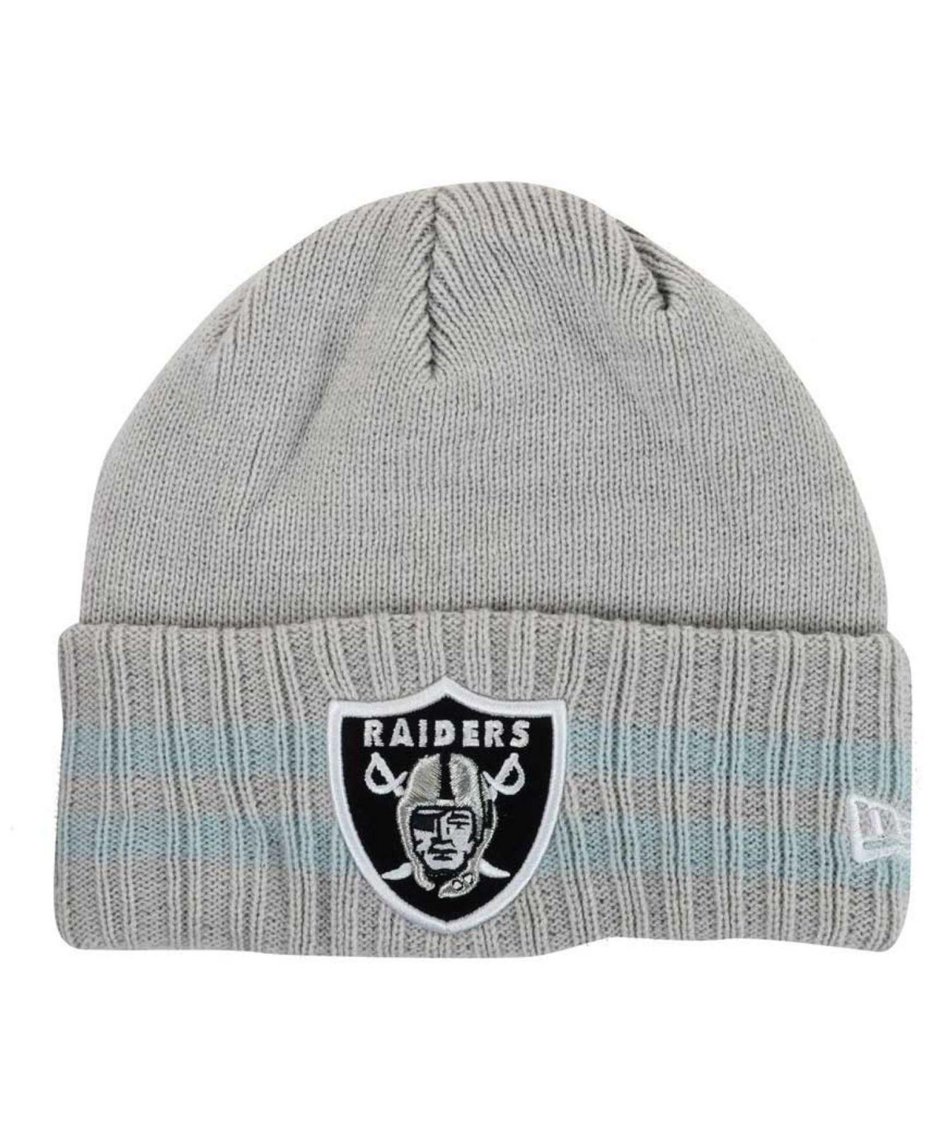 e5f88b3463f Lyst - KTZ Oakland Raiders Striped Cuff Knit Hat in Gray for Men