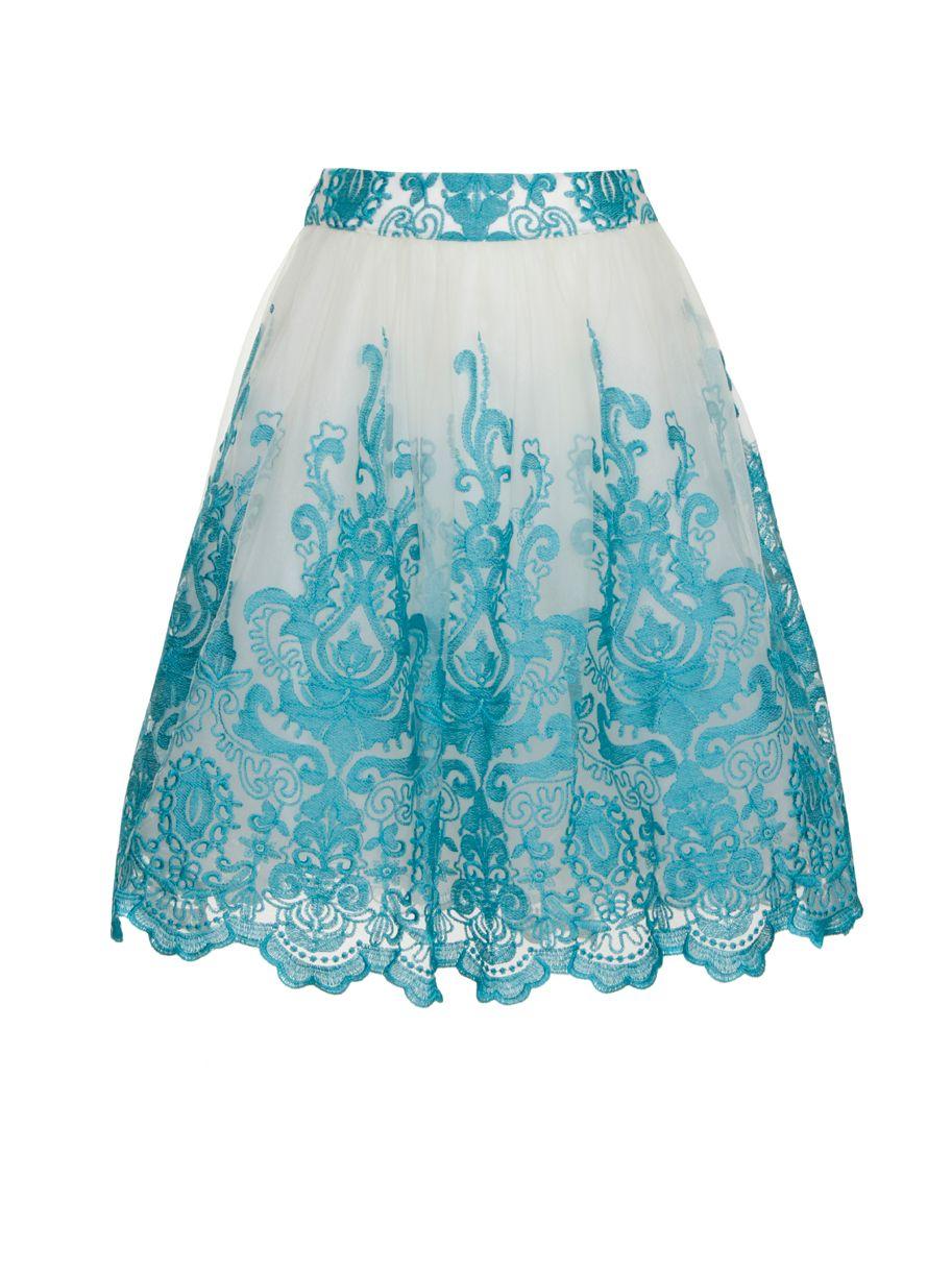 Chi chi london Baroque Midi Skirt in Blue | Lyst