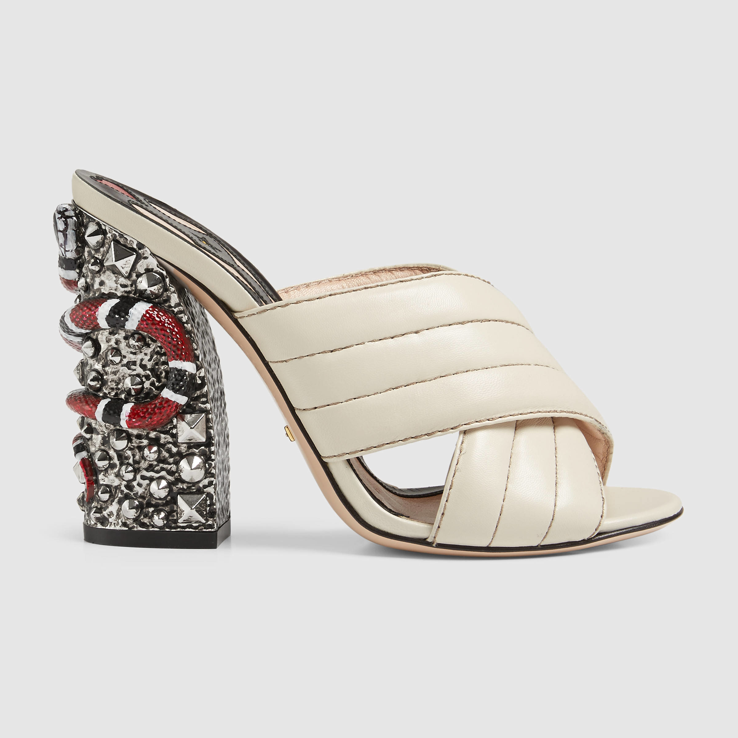 014f7e97c0db Lyst - Gucci Romain Leather Crossover Sandal in White