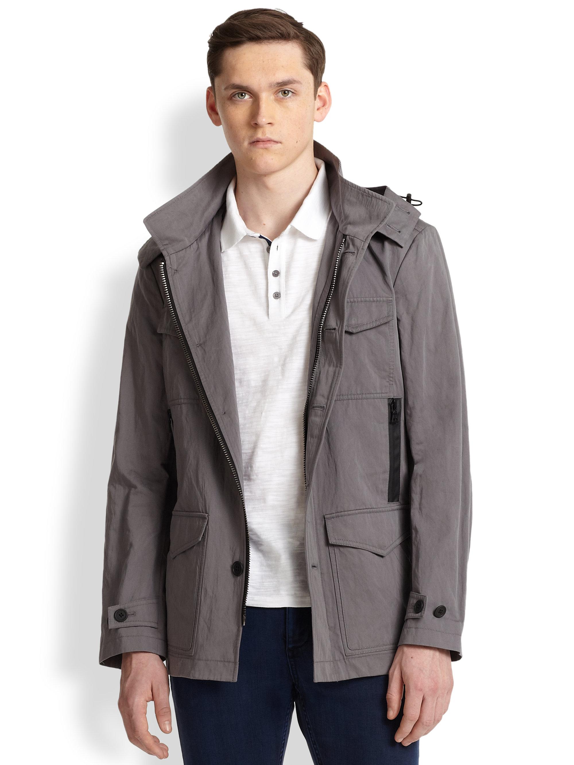 Elie tahari Hooded Anorak Jacket in Gray for Men | Lyst