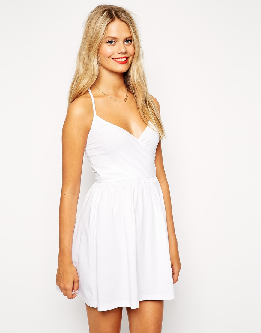 Lyst Asos Mini Sundress With Strappy Back And Wrap Front