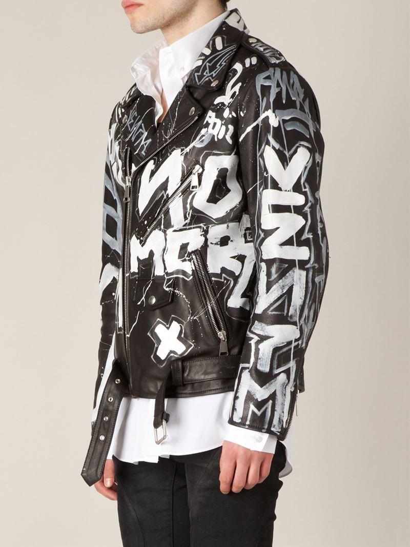 Faith Connexion Graffiti Print Biker Jacket In Black For