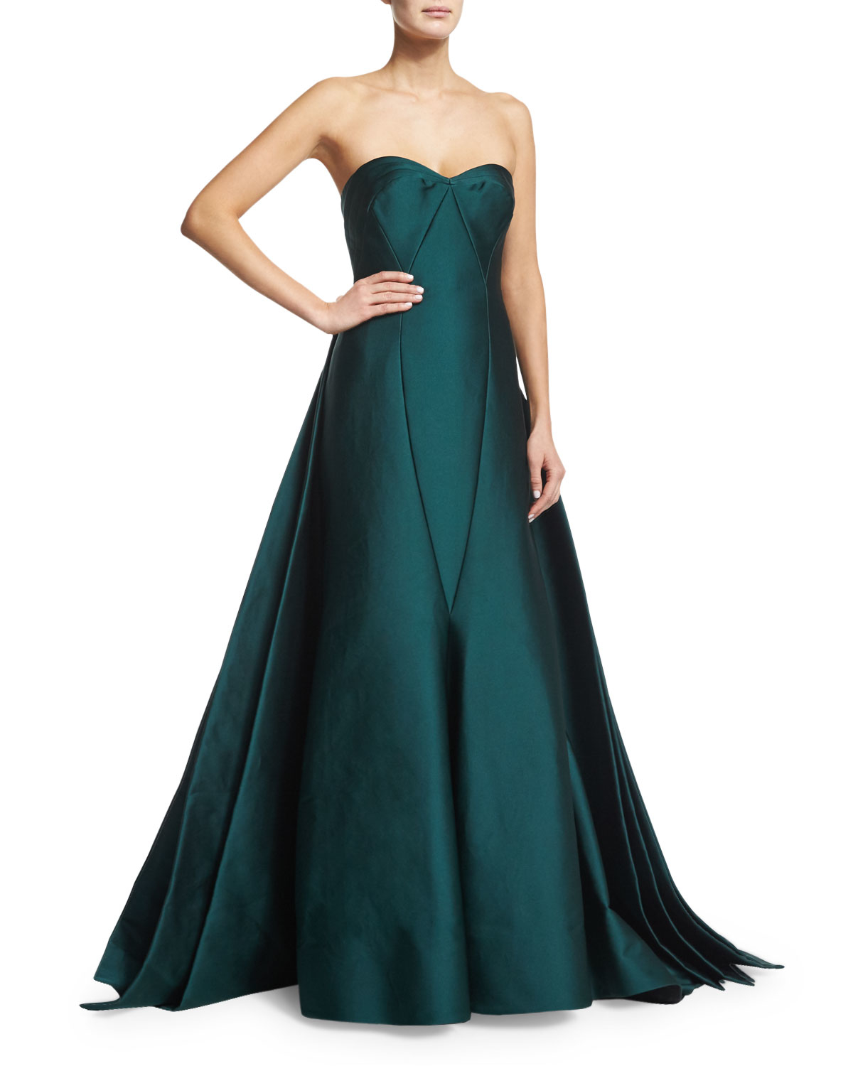 Lyst - Zac Posen Strapless Satin Ball Gown in Green