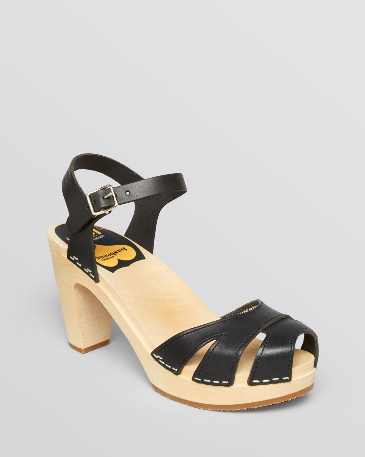 Swedish Hasbeens Open Toe Platform Clog Sandals Suzanne In Black (Black/Nature) | Lyst