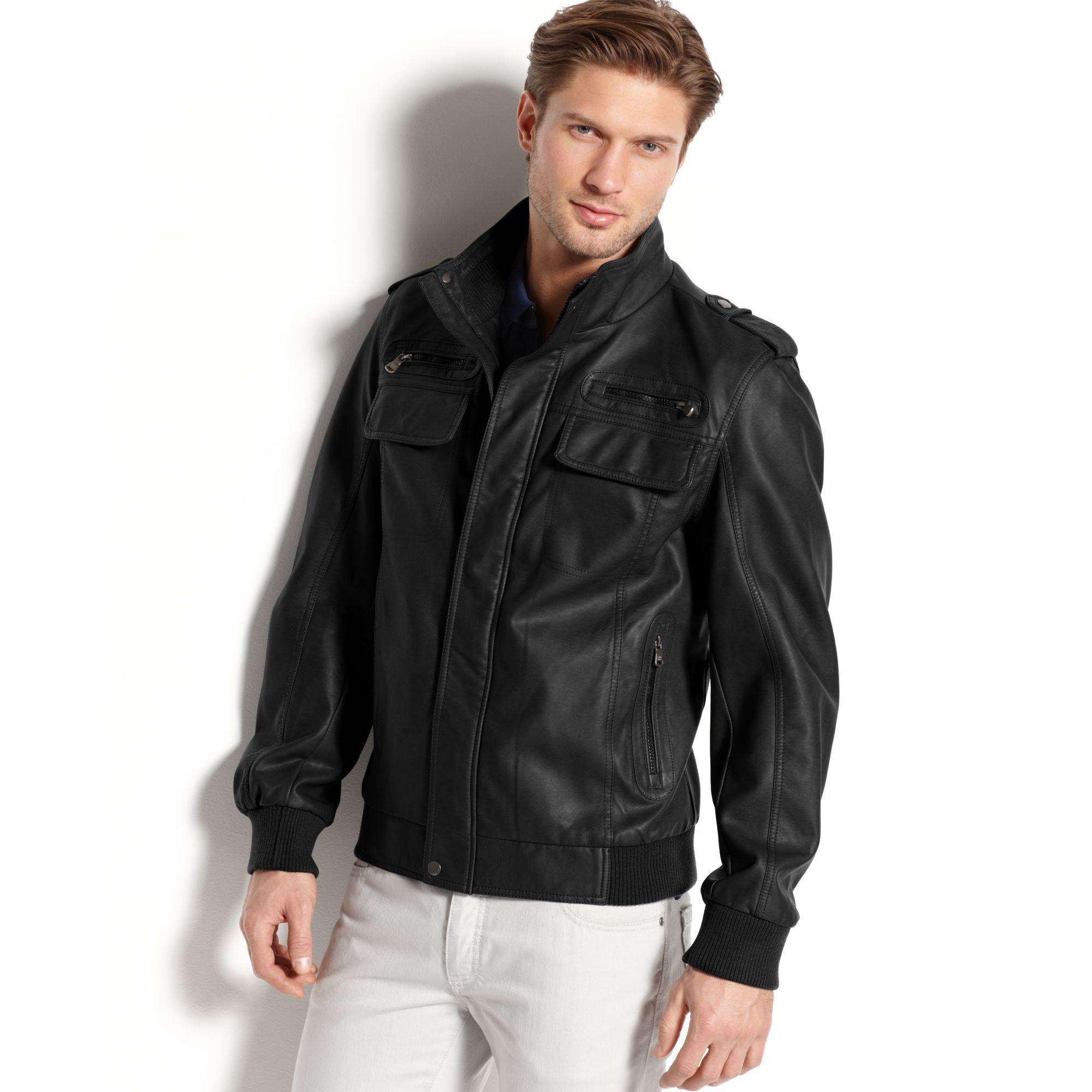 Calvin klein Fauxleather Bomber Jacket in Black for Men | Lyst