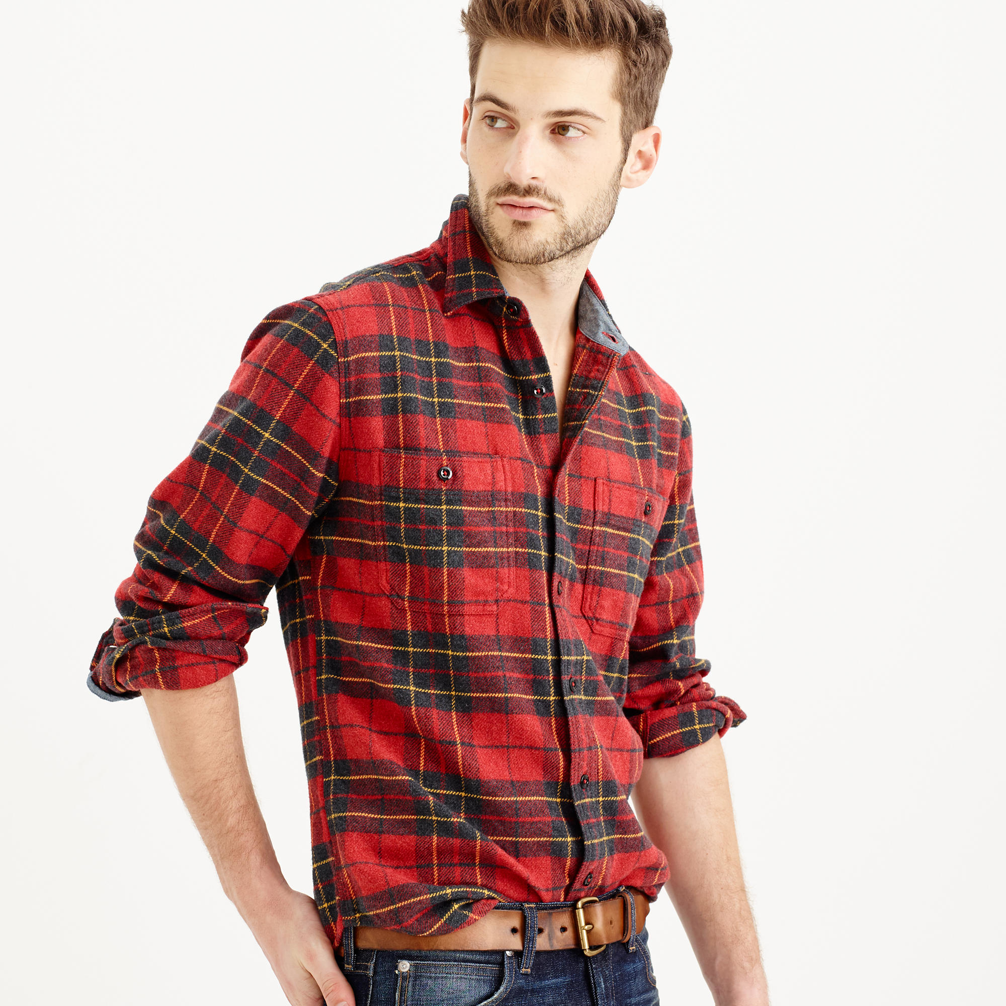 Wallace barnes heavyweight flannel in brodie for J crew mens outfits