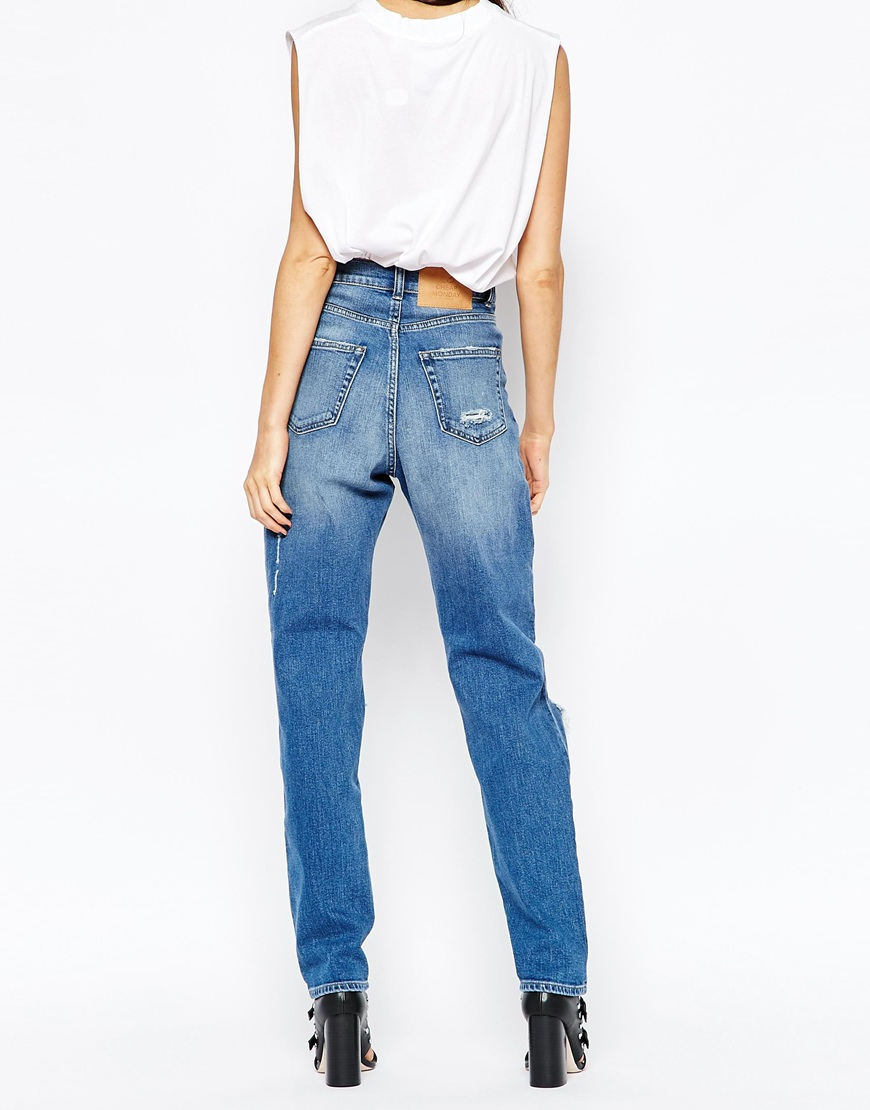 Cheap monday Donna Slim Boyfriend Jeans With Ripped Knees in Blue ...