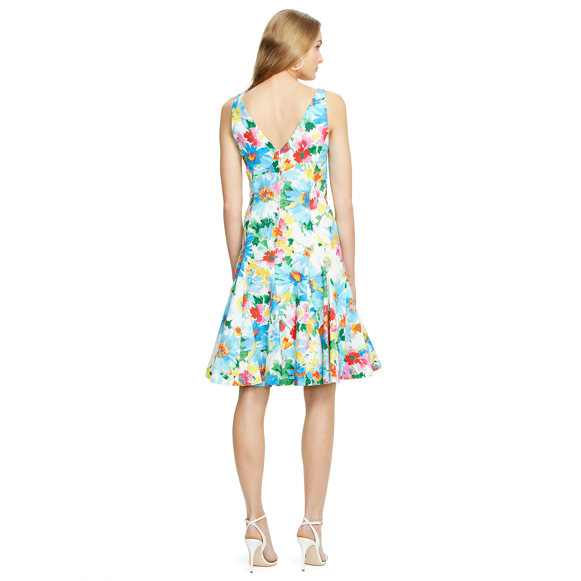 Polo Ralph Lauren Floral Print V Back Dress Lyst