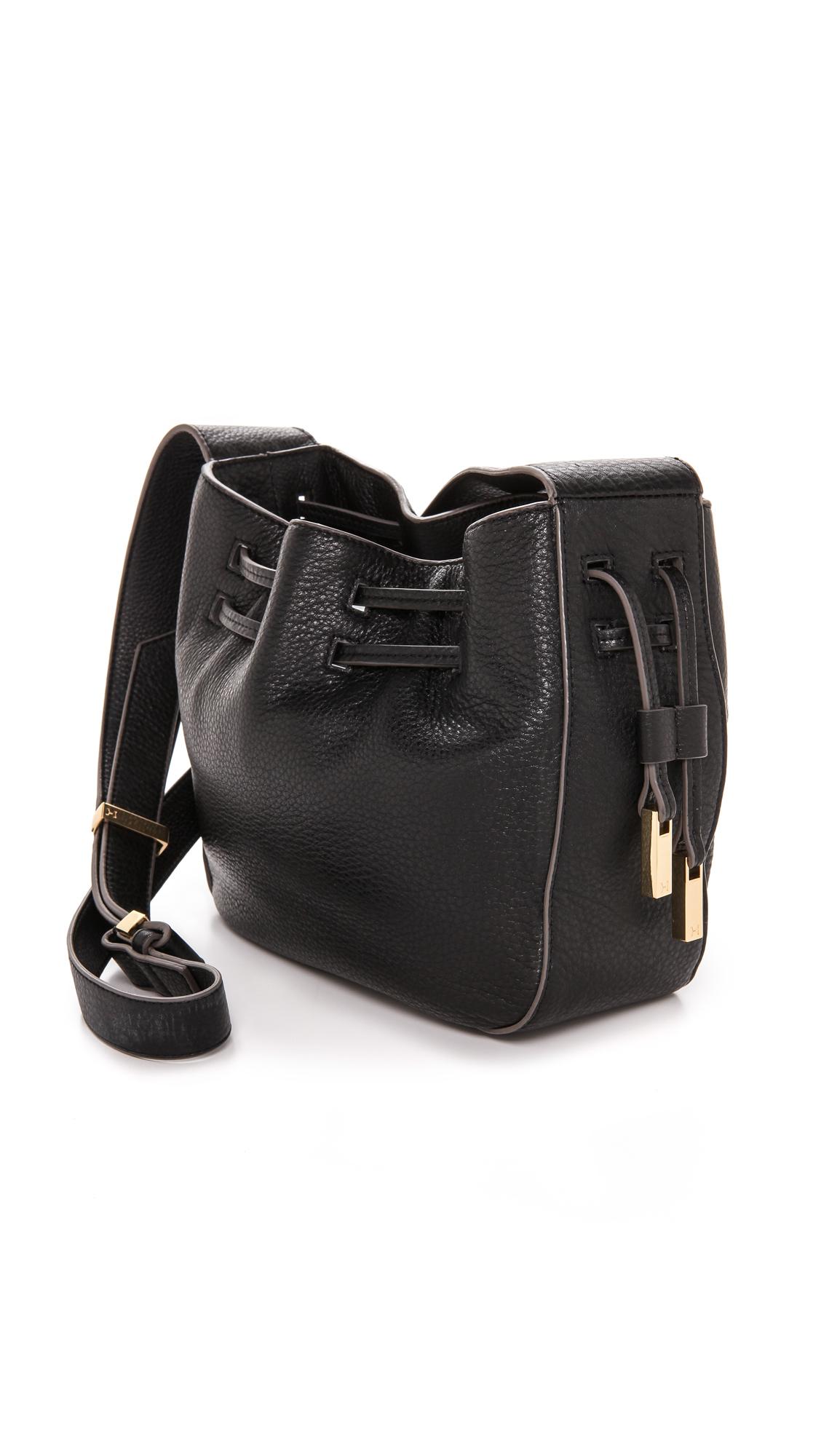 ebe98420c8 Lyst - Halston Bianca Drawstring Bucket Bag - Black in Black