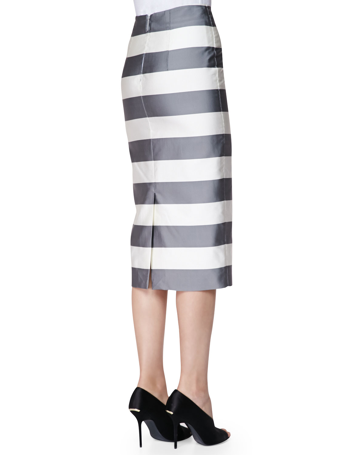 burberry striped midi length pencil skirt in gray lyst