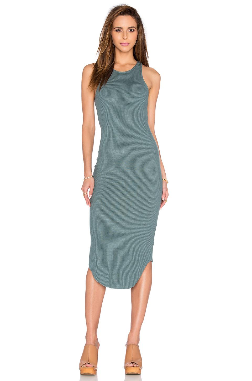 ba2956e11bb1 Monrow Rib Midi Dress in Blue - Lyst