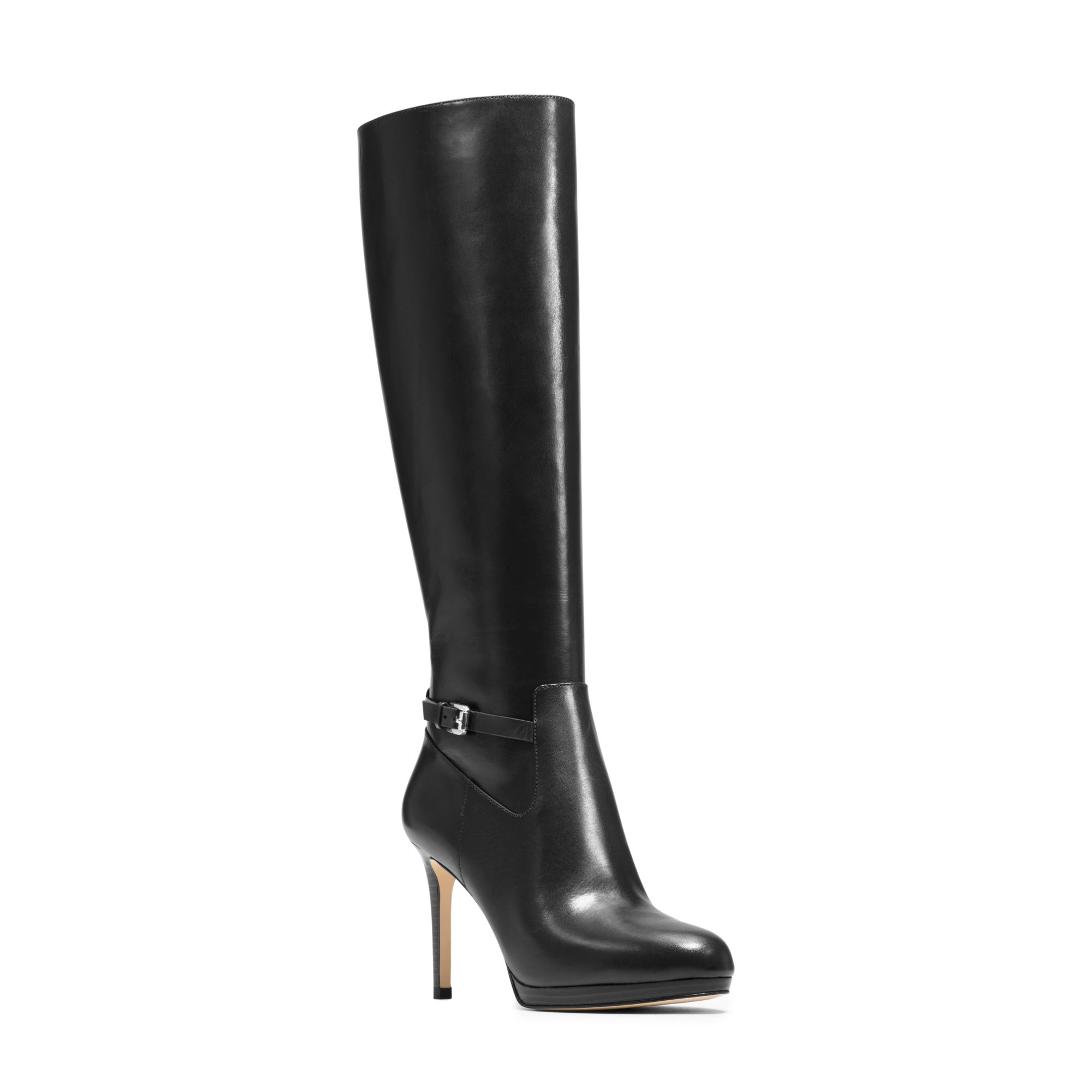 michael kors woods leather boot in black lyst