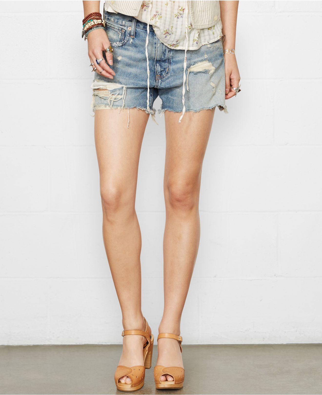 Denim & supply ralph lauren Distressed Denim Boyfriend Shorts in ...