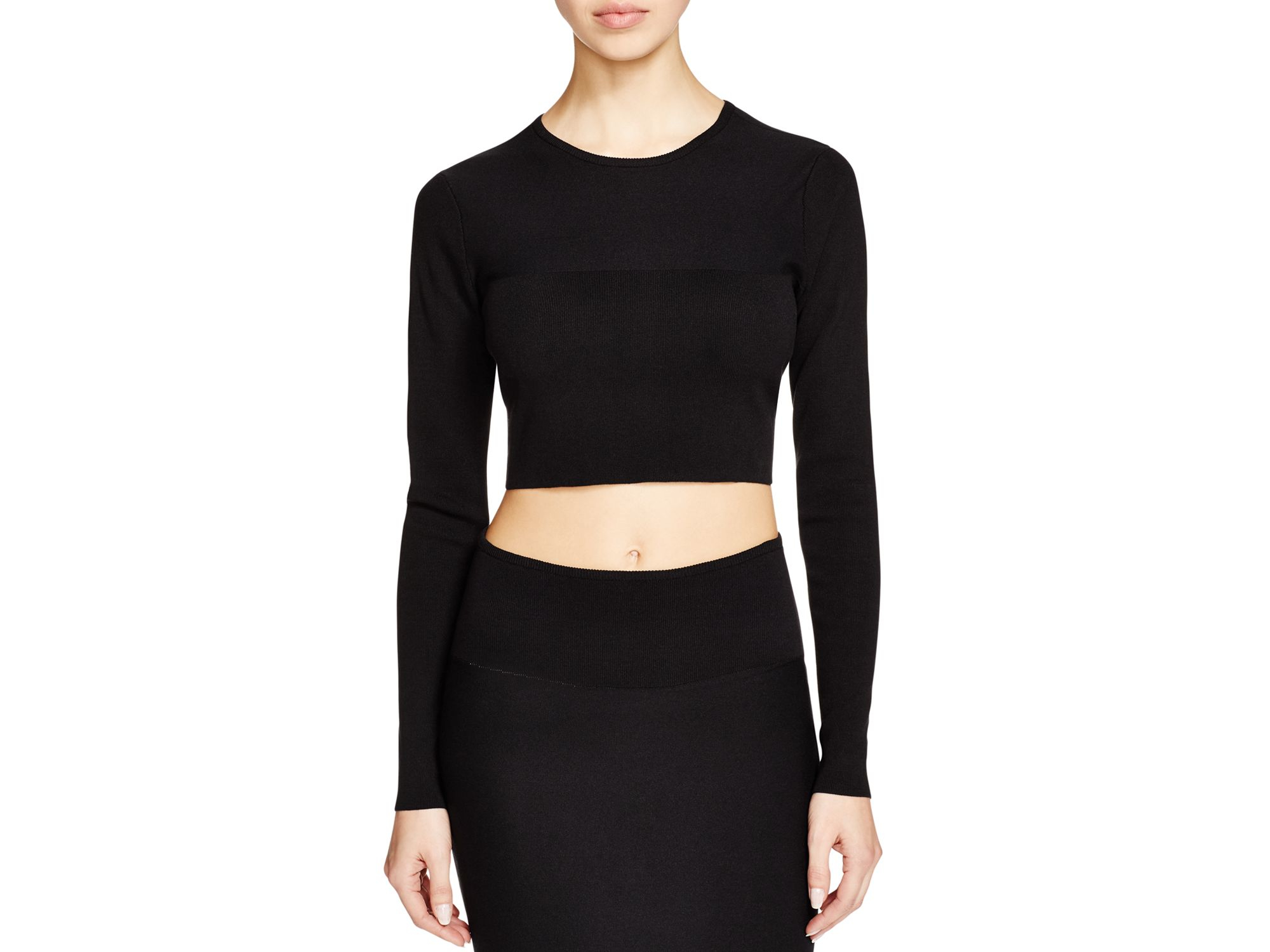 Kendall + kylie Kendall + Kylie Crop Knit Sweater in Black | Lyst