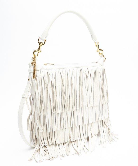 yves saint laurent clutch bags - Saint laurent White Fringe Leather Small \u0026#39;emmanuelle\u0026#39; Hobo ...