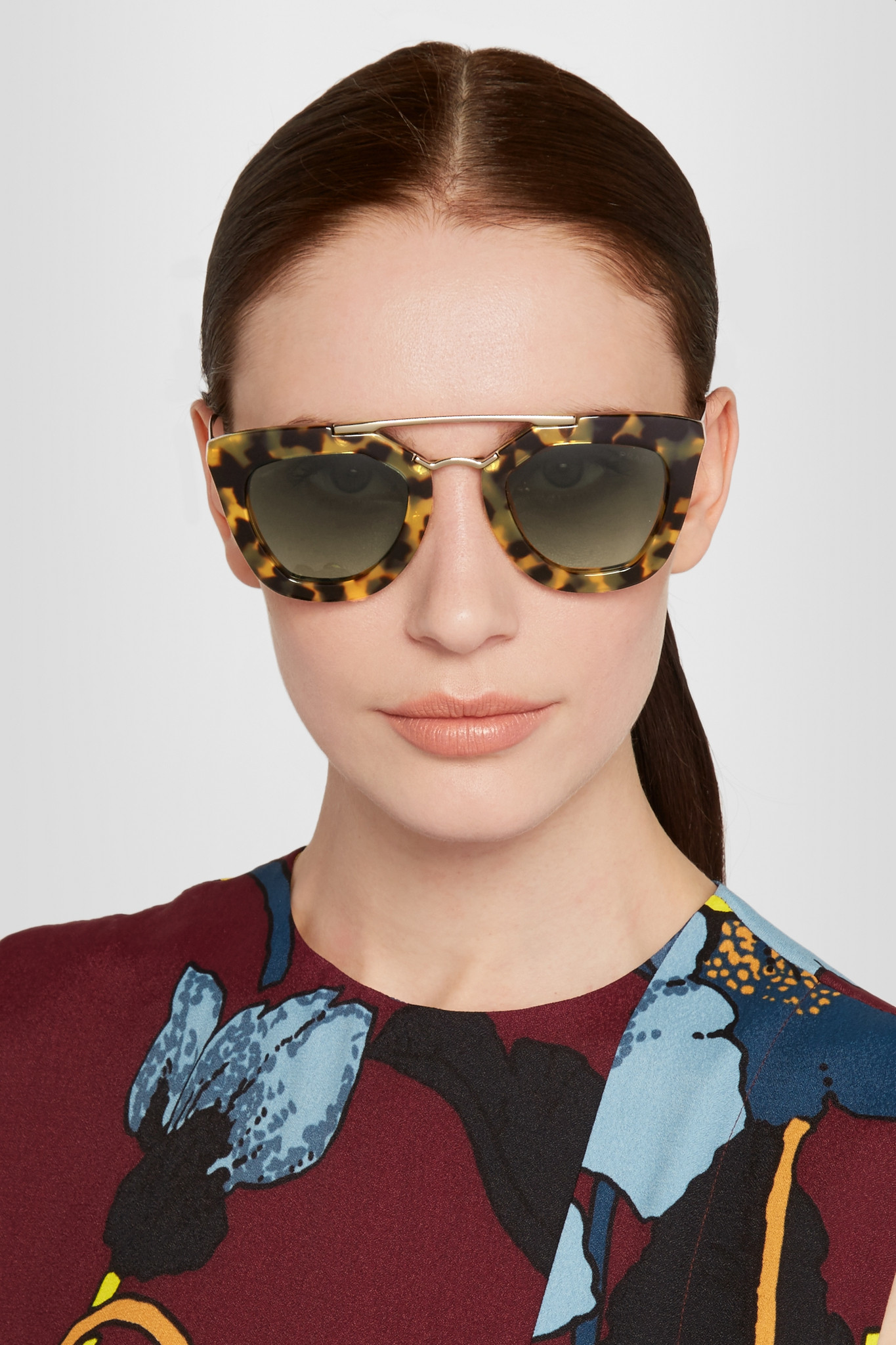 09a71b43f42 discount prada tortoiseshell pentagonal cat eye sunglasses a3a8f 52081  hot  prada d frame acetate and gold tone sunglasses in brown lyst c5d69 5220c