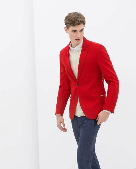 Zara Red Structured Blazer in Red for Men | Lyst