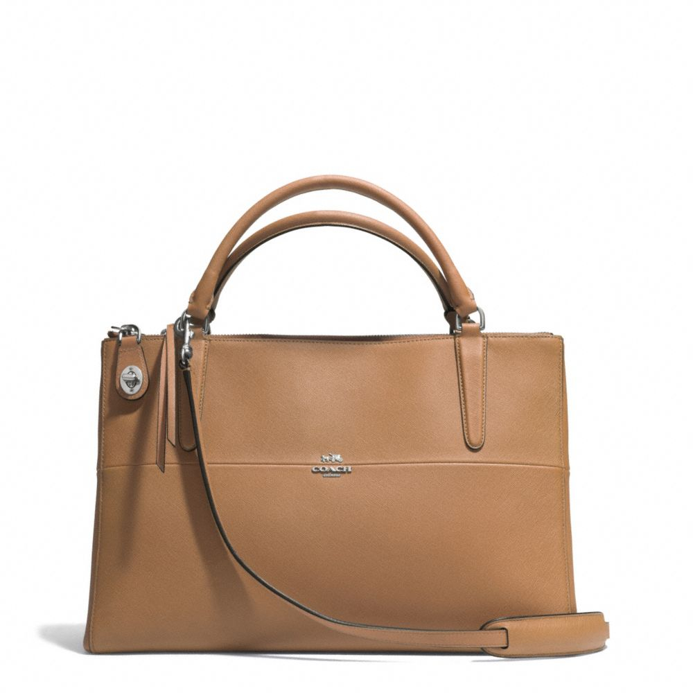 coach the borough bag in saffiano leather in brown