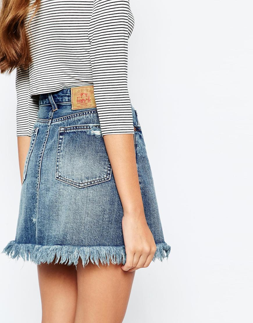 1b08985f Pull&Bear Frayed Hem Denim Mini Skirt in Blue - Lyst