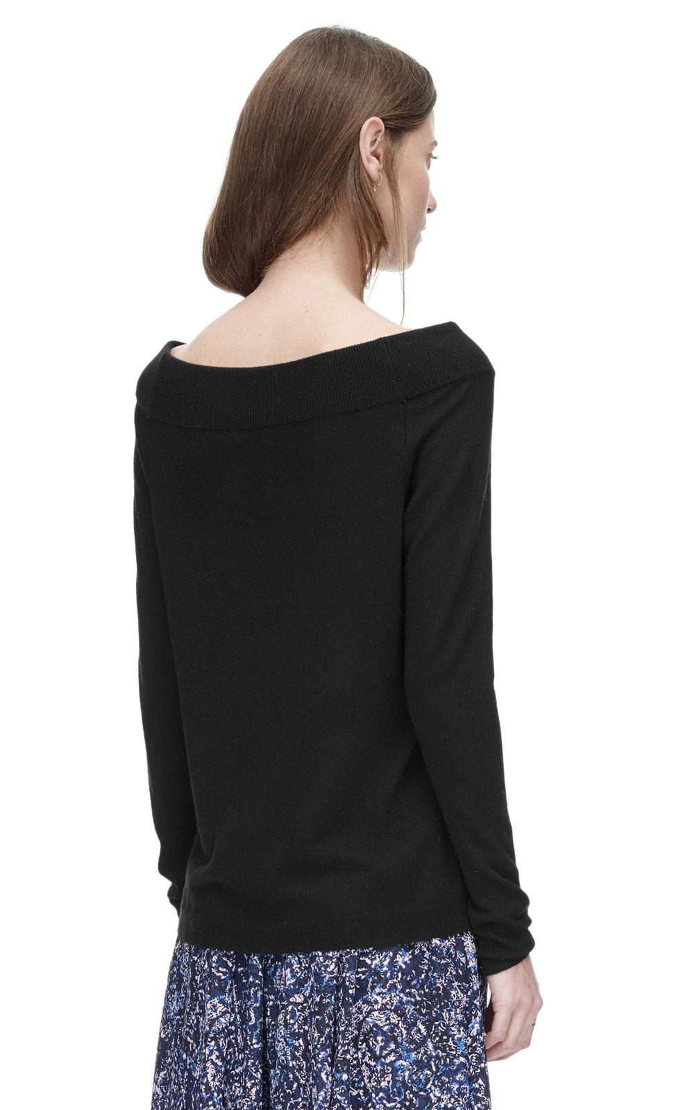 rebecca taylor off shoulder pullover in black lyst. Black Bedroom Furniture Sets. Home Design Ideas
