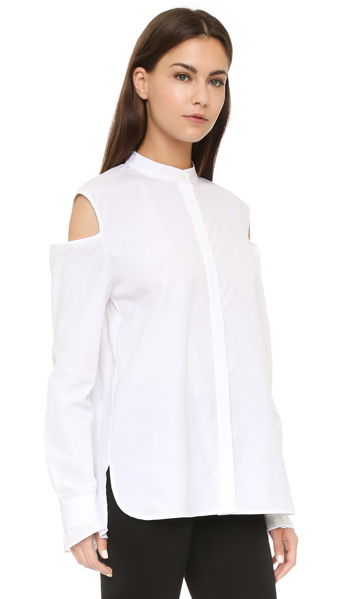 Thakoon Open Shoulder Shirt - White in White | Lyst