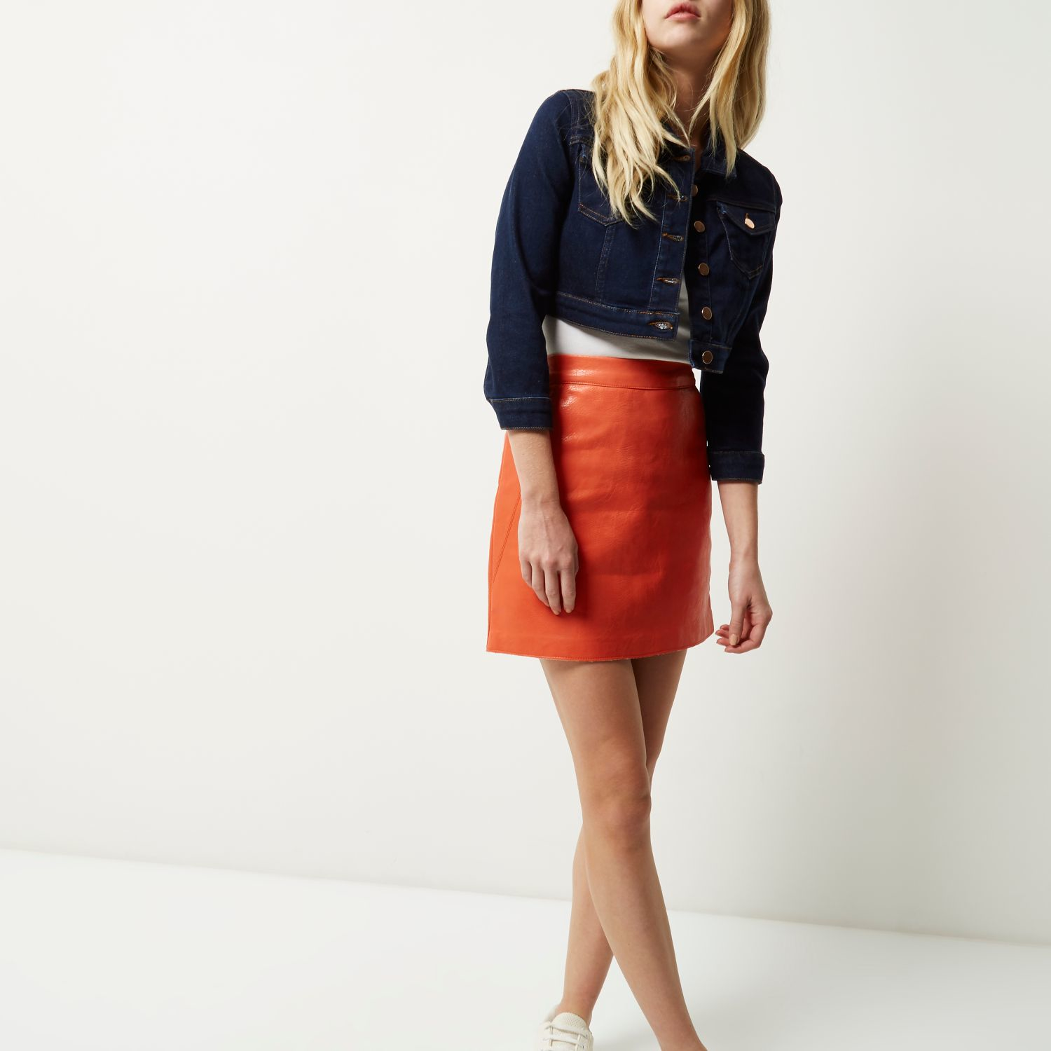 River island Coral Leather-look Mini Skirt in Orange | Lyst