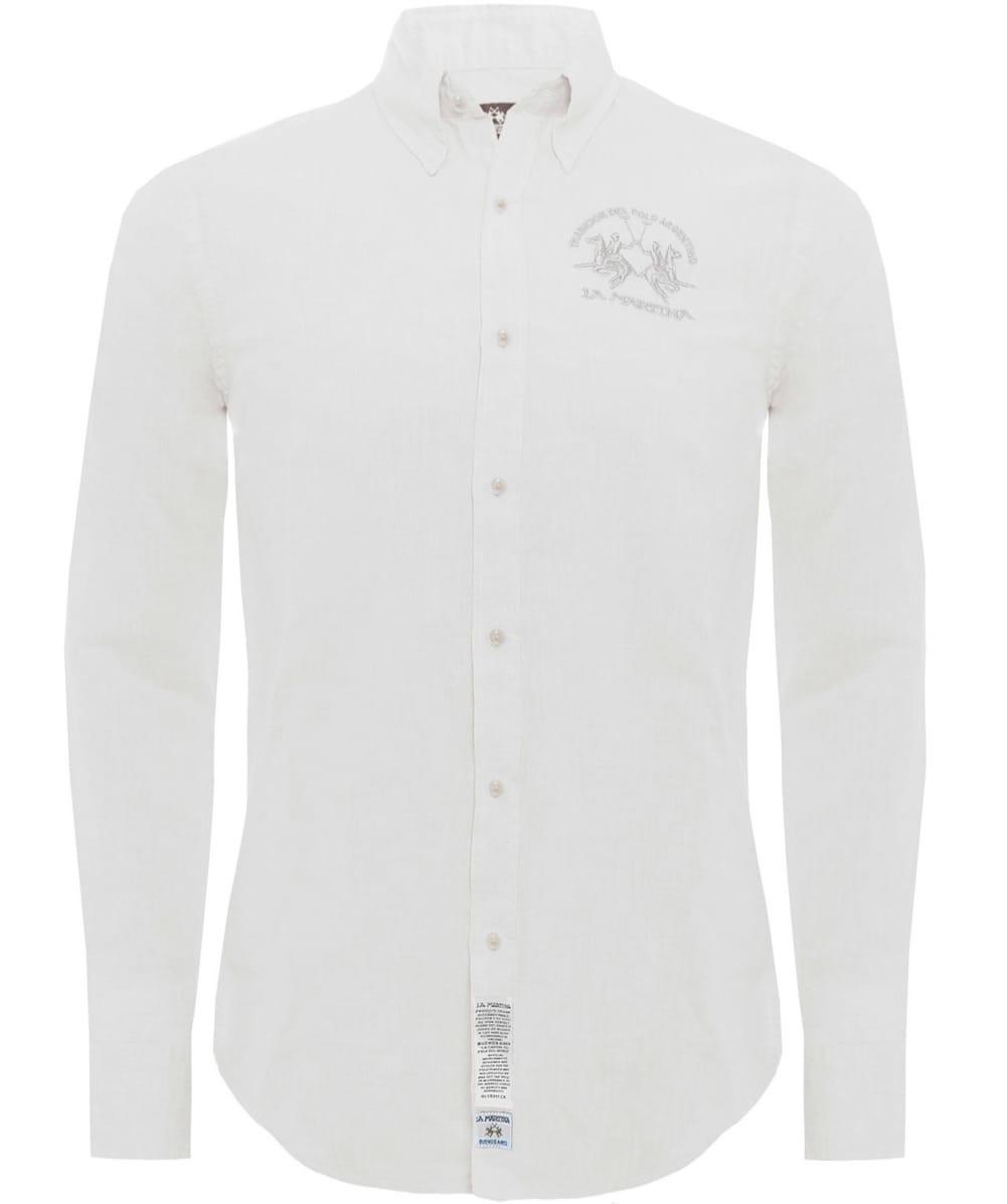 La martina slim fit linen blend shirt in white for men lyst for Slim fit white linen shirt