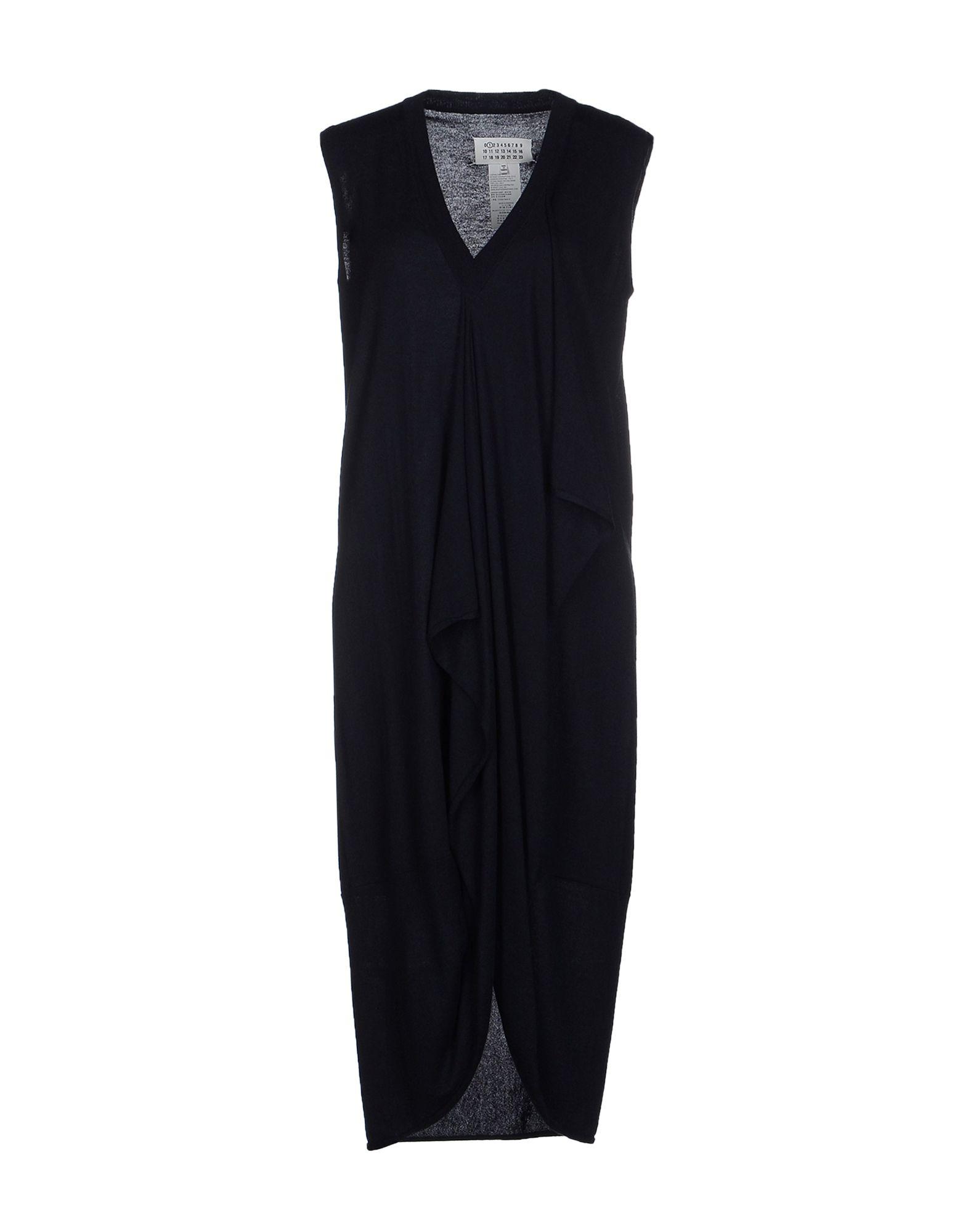 Maison margiela knee length dress in black lyst