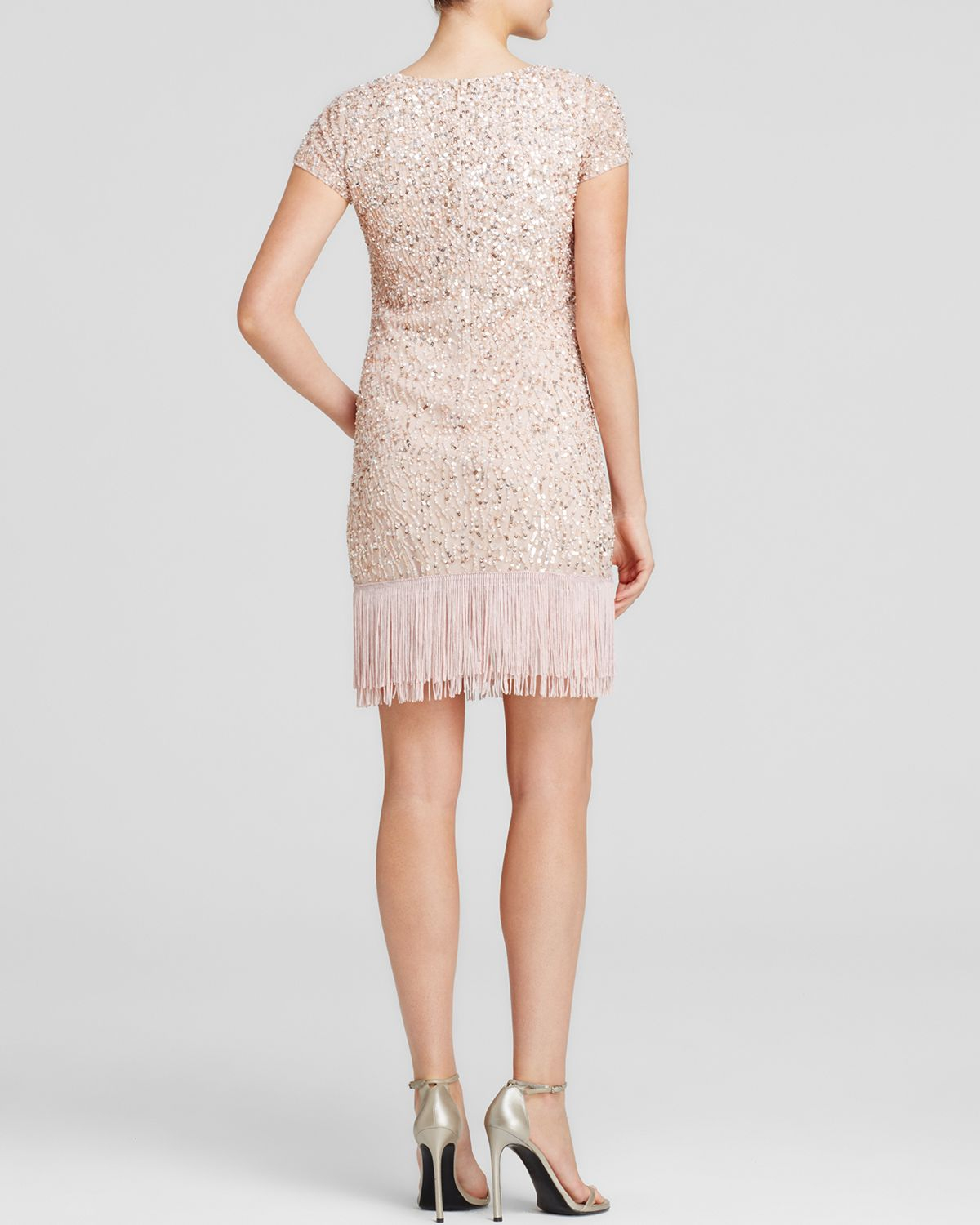 Lyst - Aidan Mattox Dress - Cap Sleeve Embellished Fringe ...