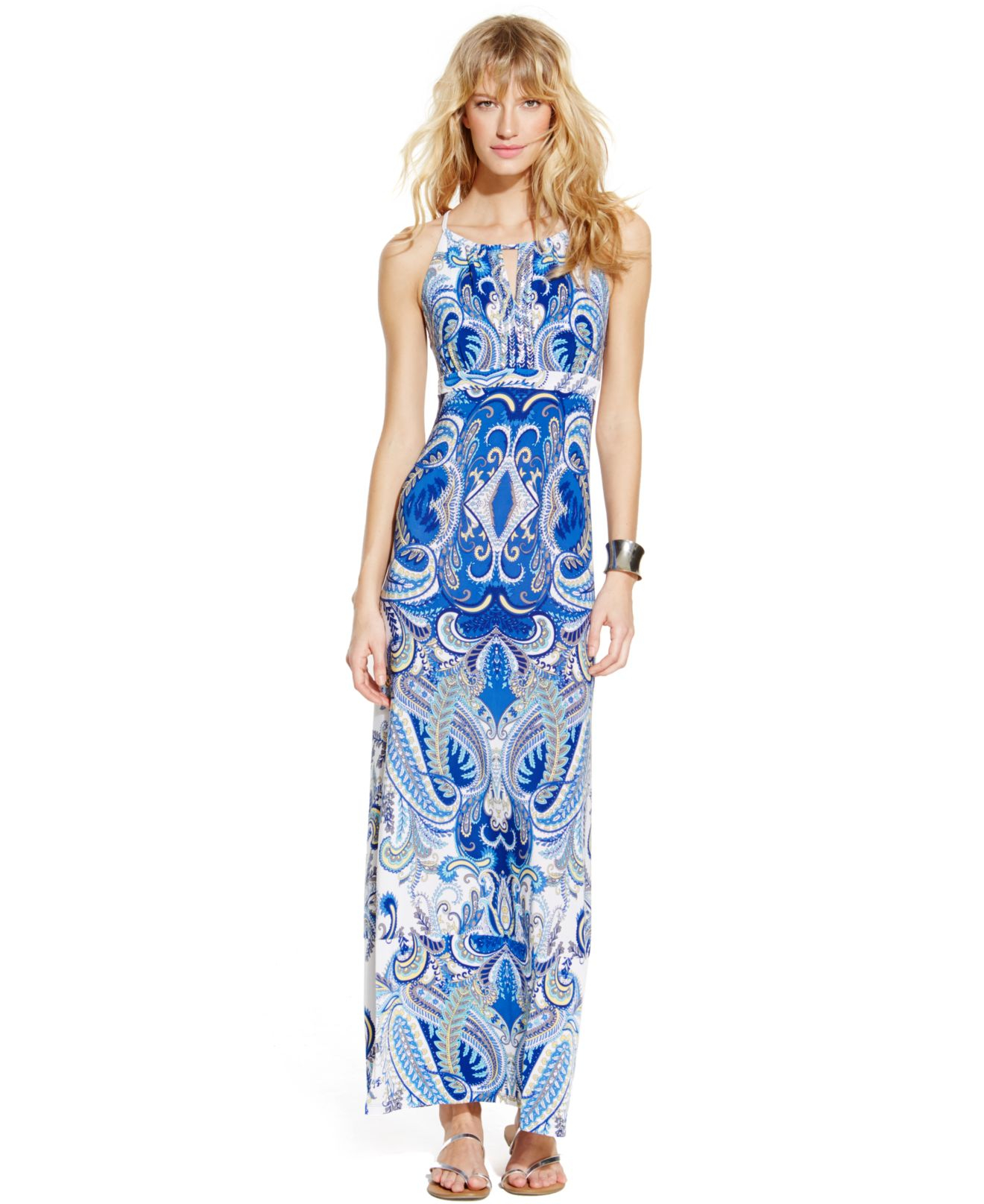 Inc international concepts Printed Beaded Halter Maxi Dress in ...