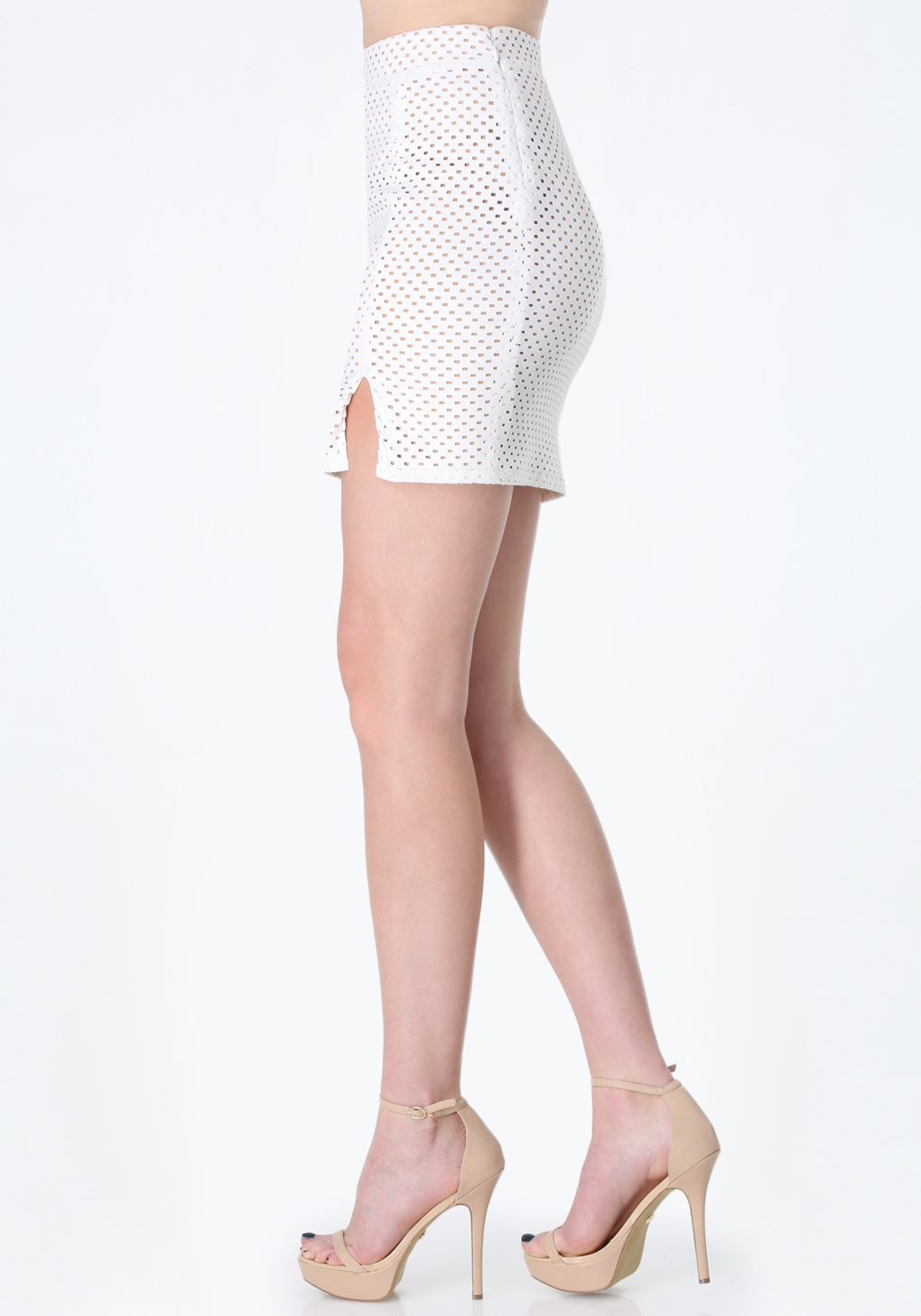 bebe perforated faux suede skirt in white lyst
