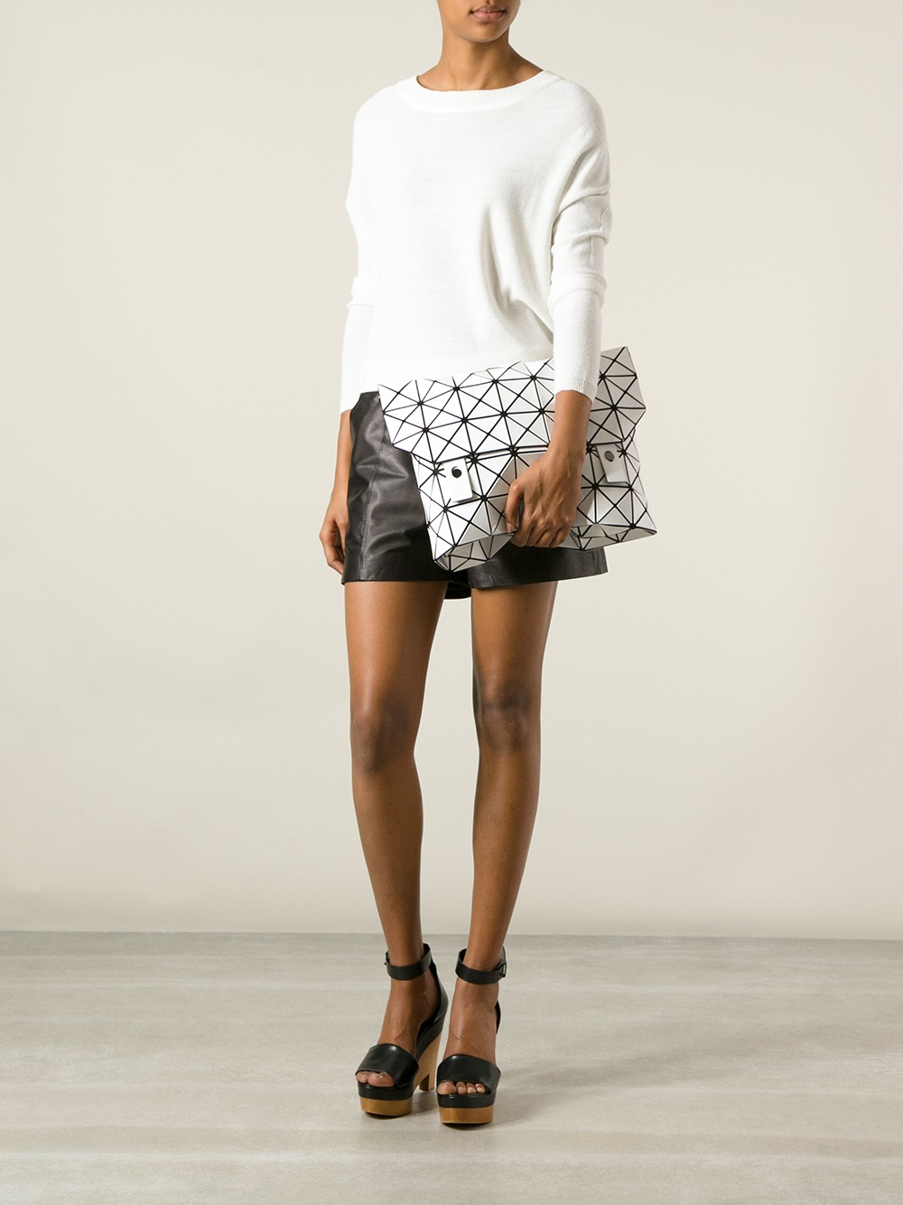 lyst bao bao issey miyake large prism clutch in white