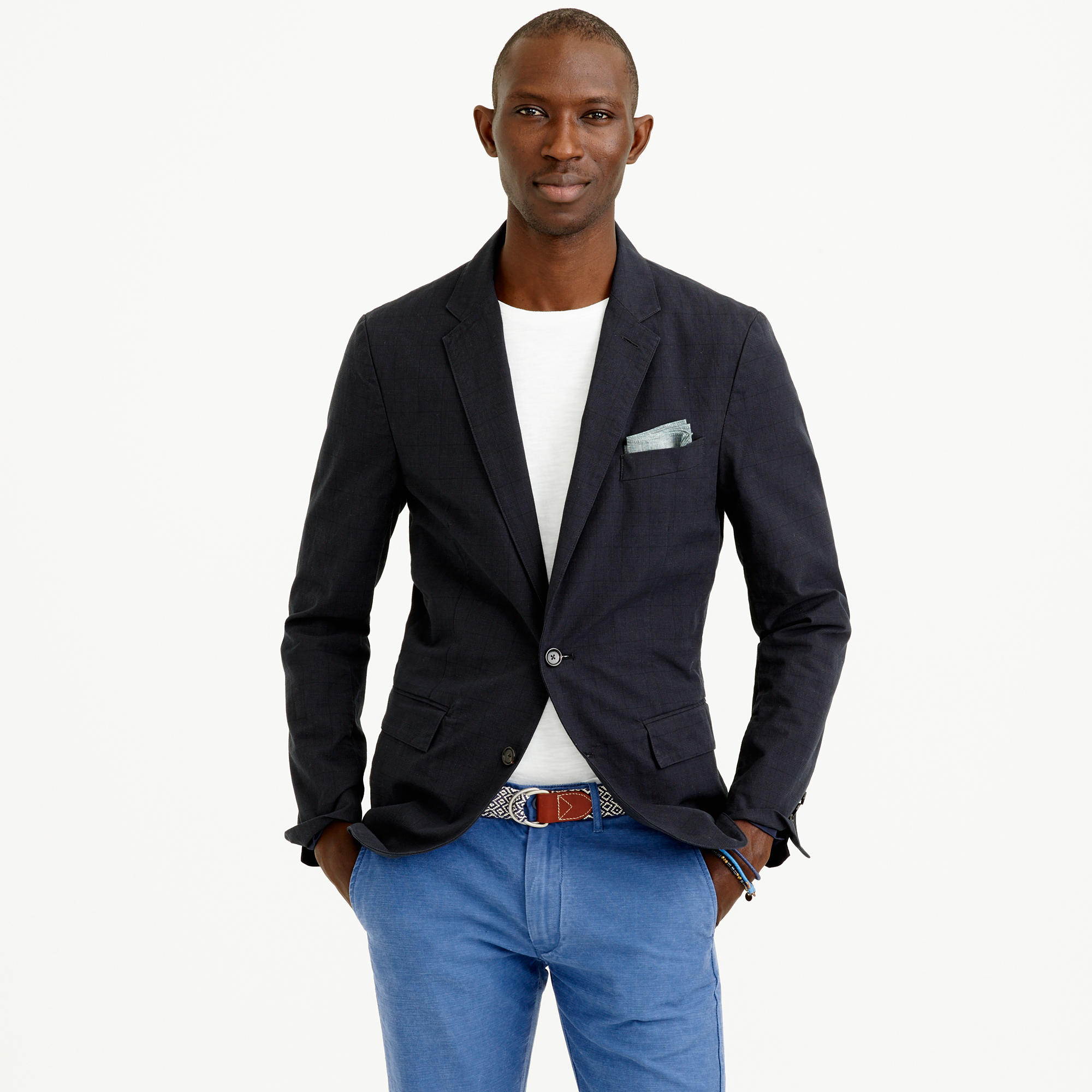 J.crew Ludlow Sportcoat In Lightweight Glen Plaid Cotton in Black ...