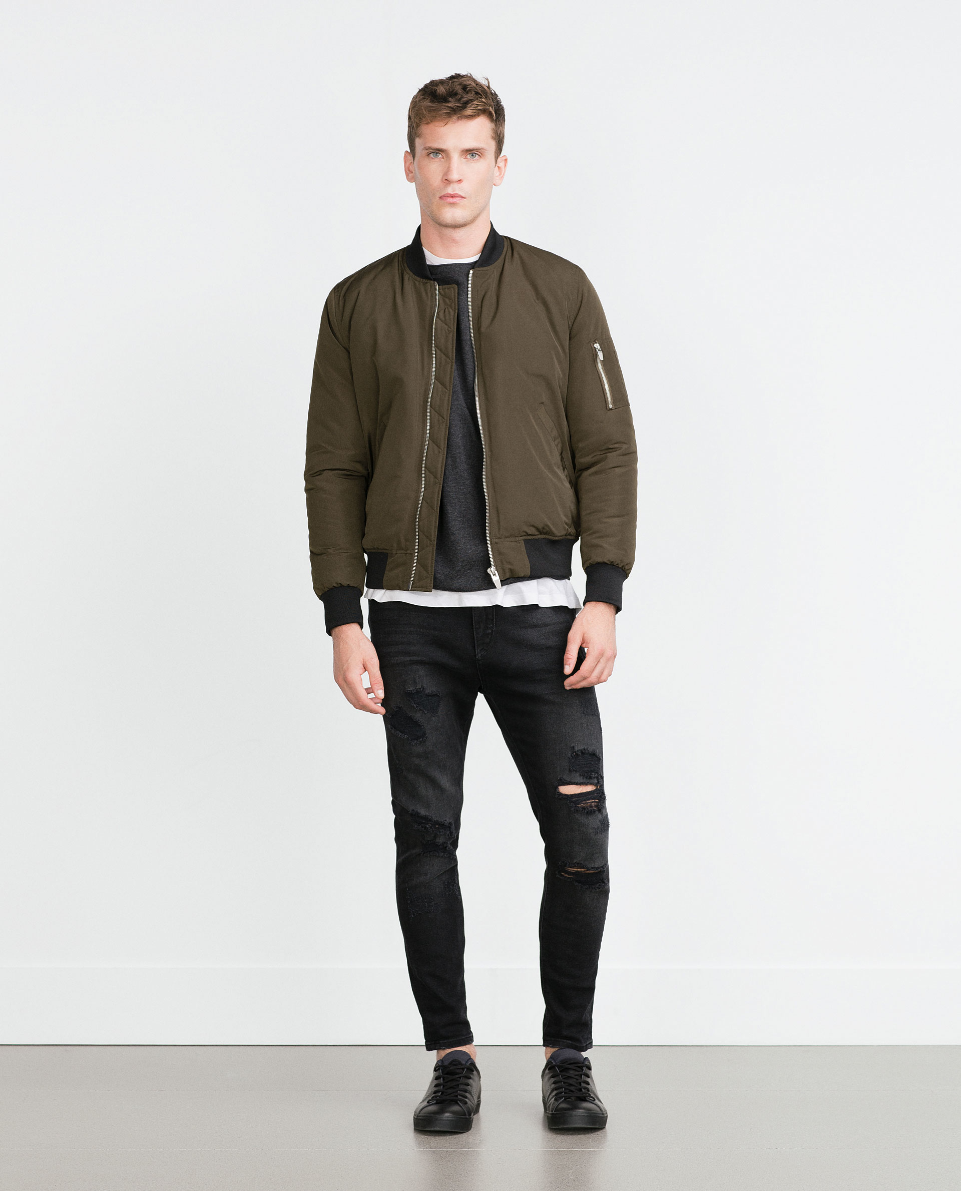 zara bomber jacket in natural for men lyst. Black Bedroom Furniture Sets. Home Design Ideas