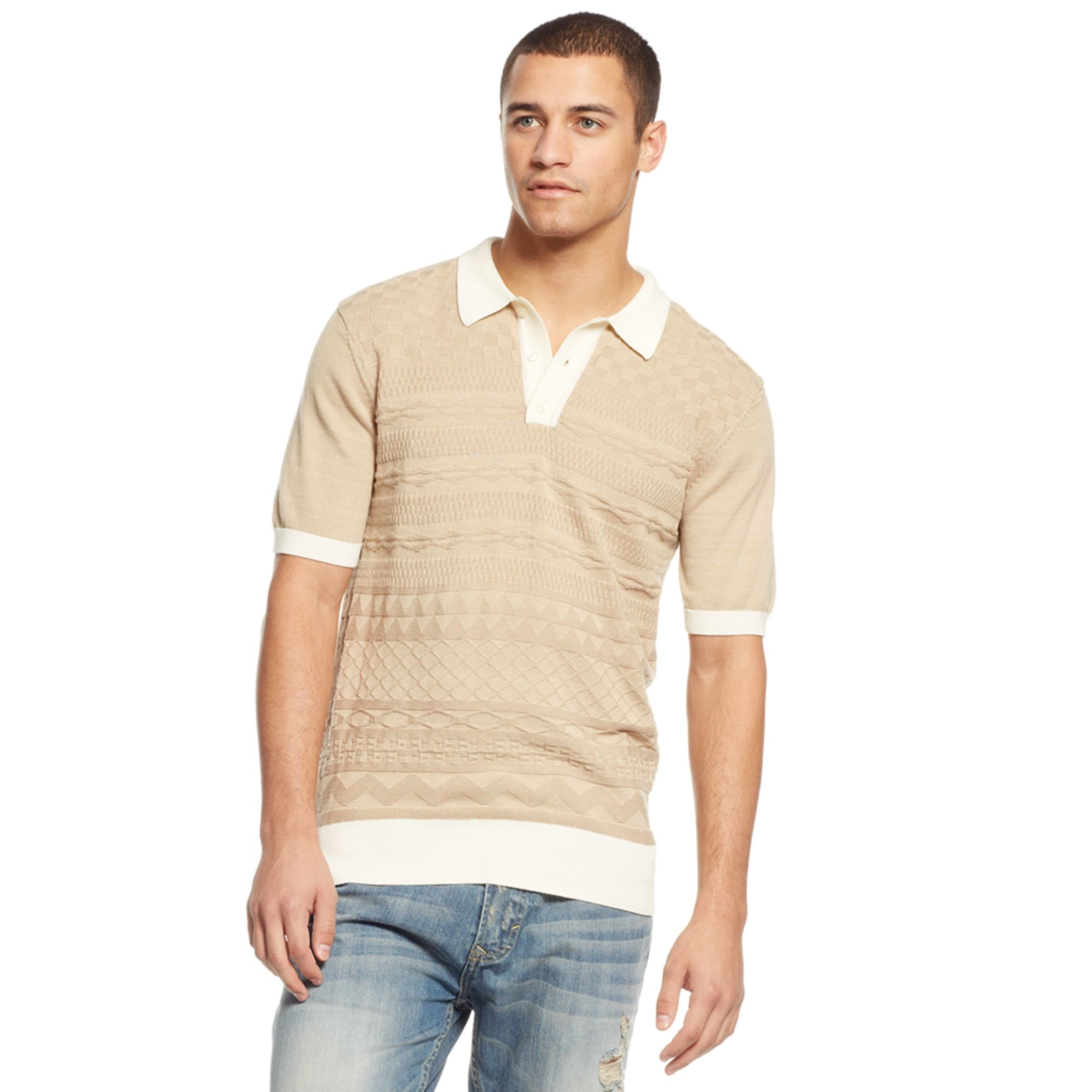 d7160d400a ... coupon for lyst sean john stitch sweater polo shirt in natural for men  f5e39 f98ac
