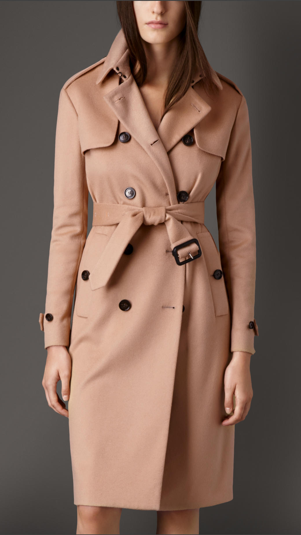Burberry Long Double Cashmere Trench Coat in Brown | Lyst