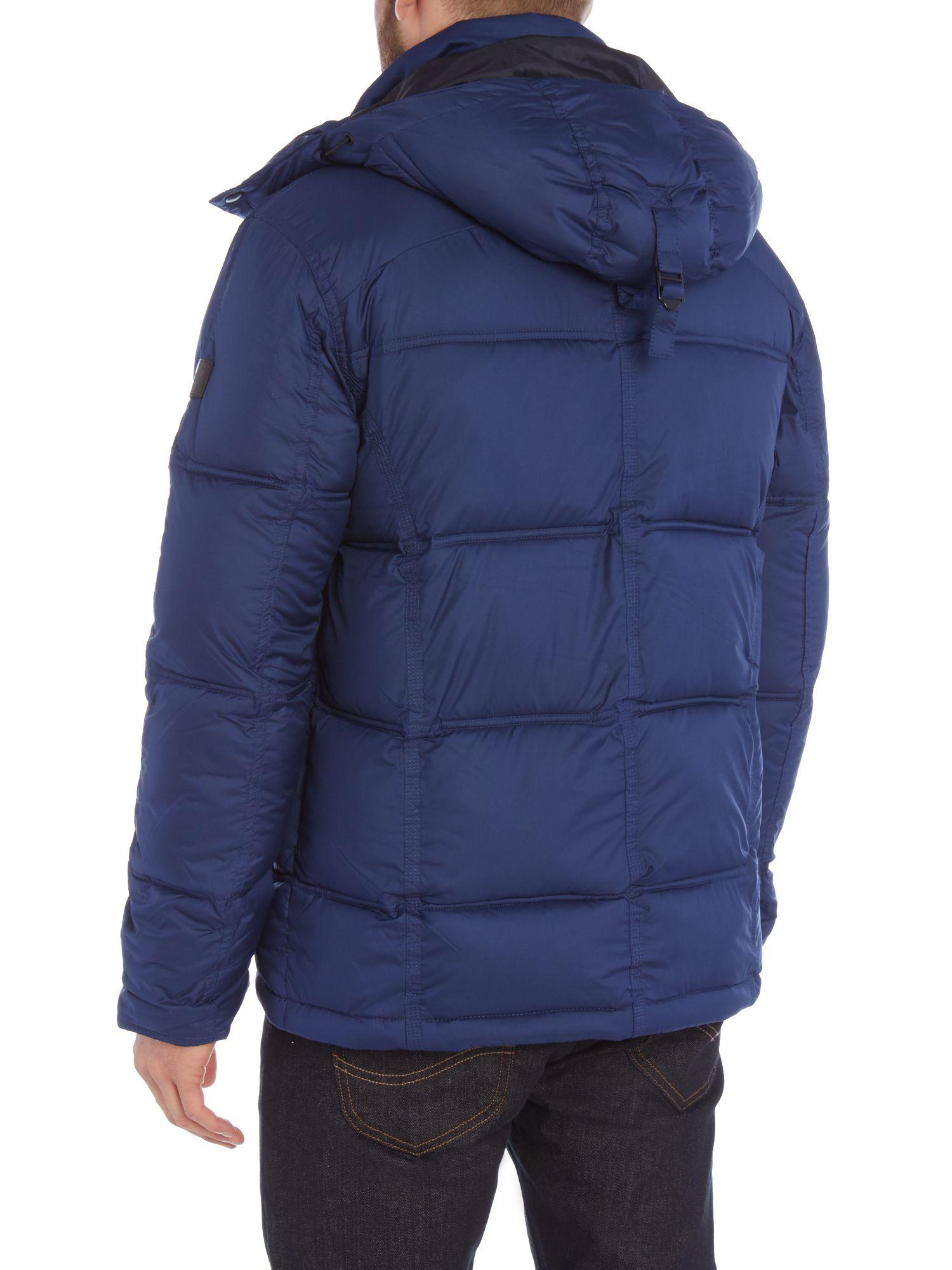 Wrangler Padded Hooded Jacket In Blue For Men Lyst