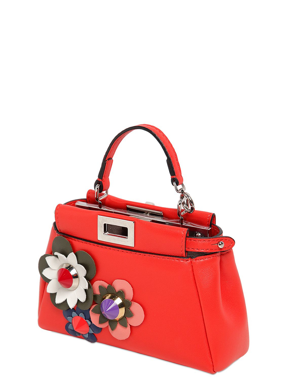 1112f43a18 Fendi Micro Peekaboo Flower Appliqués Bag in Red - Lyst