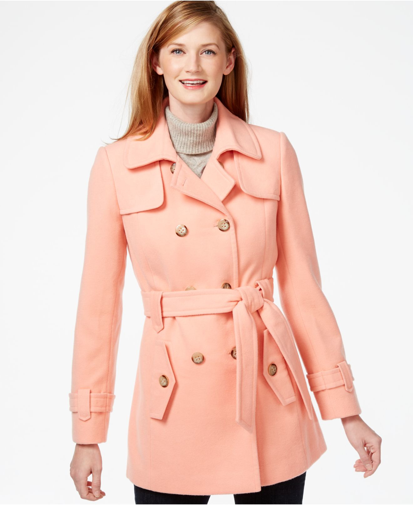Calvin klein Double-breasted Peacoat in Orange | Lyst