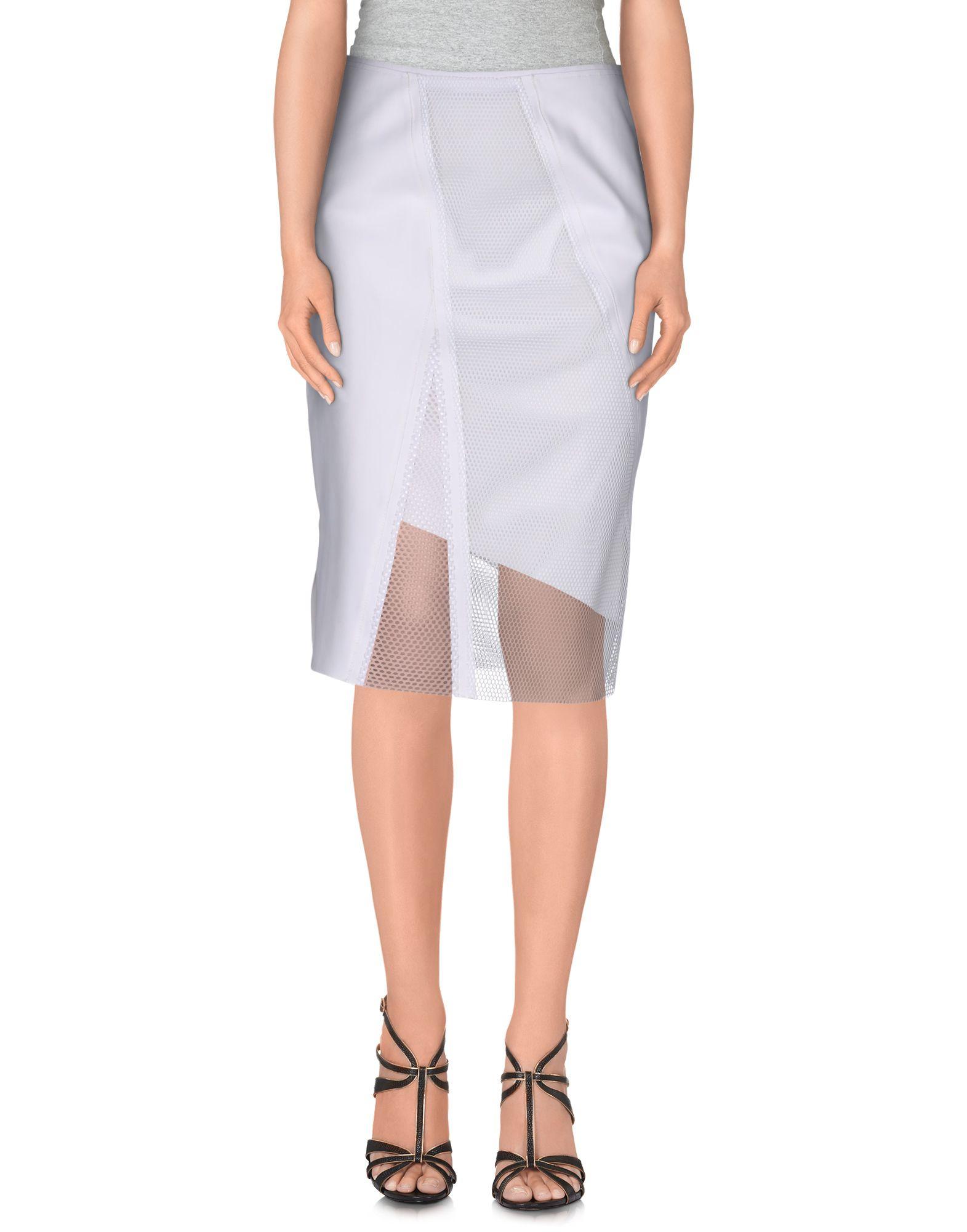 elie tahari knee length skirt in white lyst